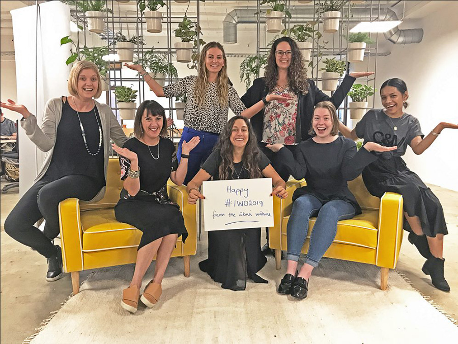 The women of the Ākina Wellington workspace for International Women's Day 2019