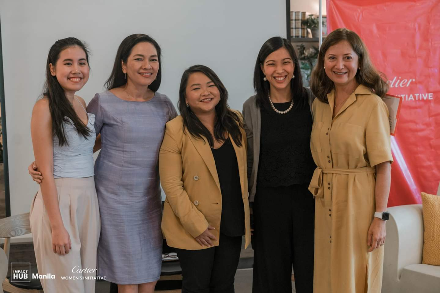 From left to right: Audrey Pe of WiTech, Senator Risa Hontiveros of Akbayan Citizens' Action Party, Ces Rondario of Impact Hub Manila, Riva Galveztan as the host, and Monette Hamlin of TeamAsia