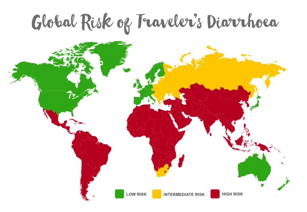Travel Diarrhoea World Map Risk Countries