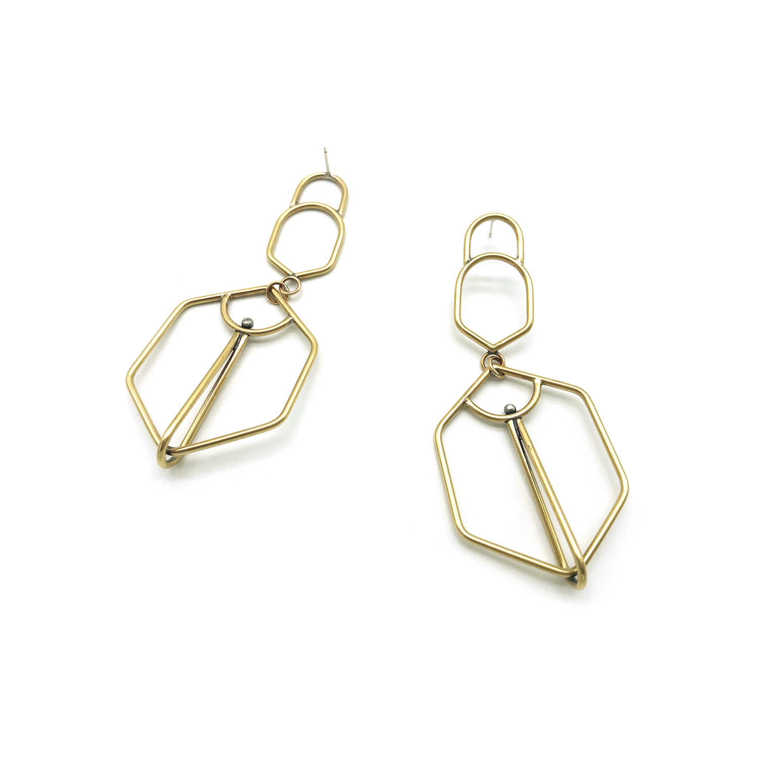 Brass and silver earrings.