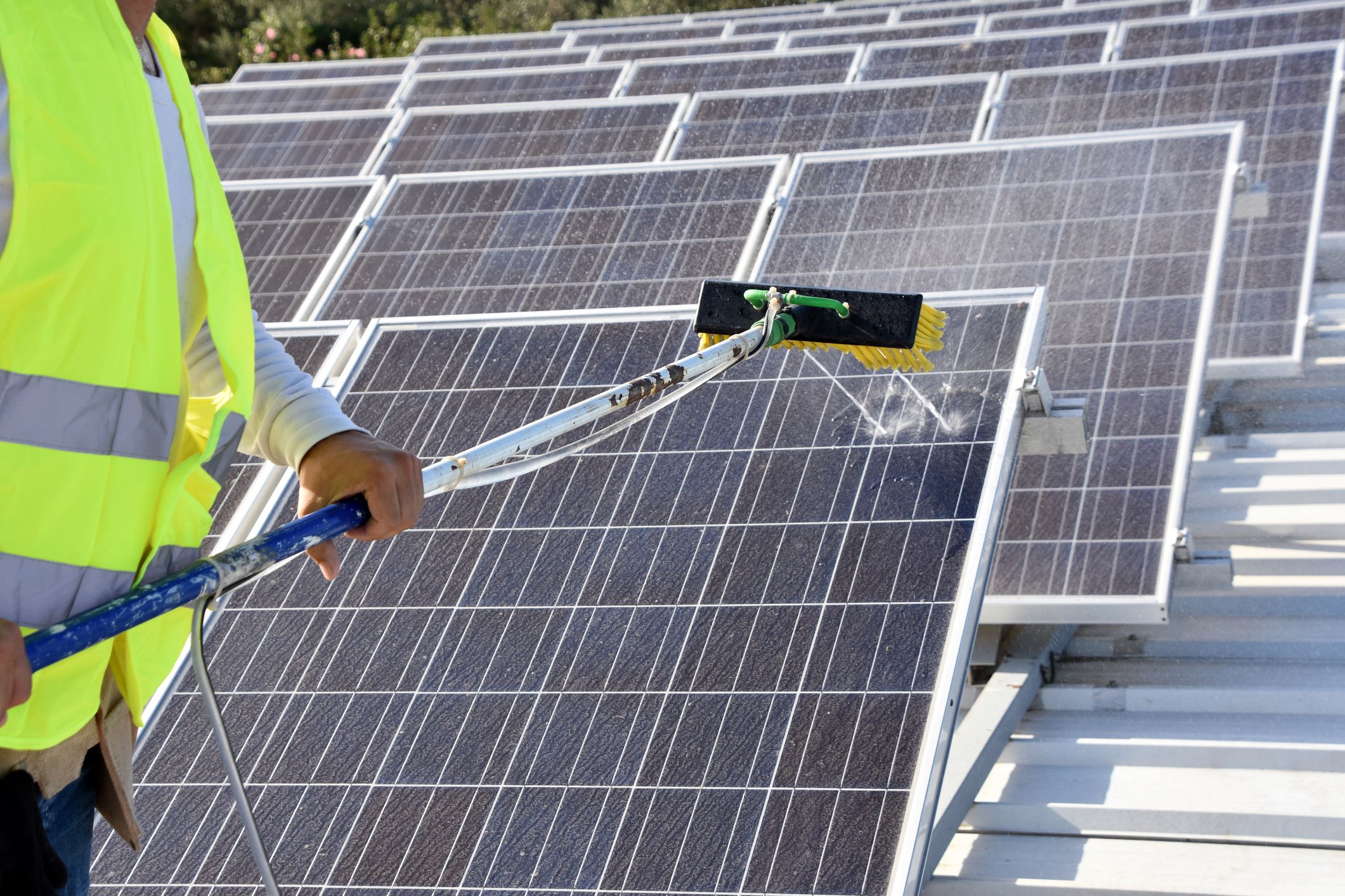 SOLAR - Solar panels are outside in the wind and sun all day. They see dust, bird droppings, leaves and who knows what else. Cleaning your panels on a regular basis will help you see consistent performance.