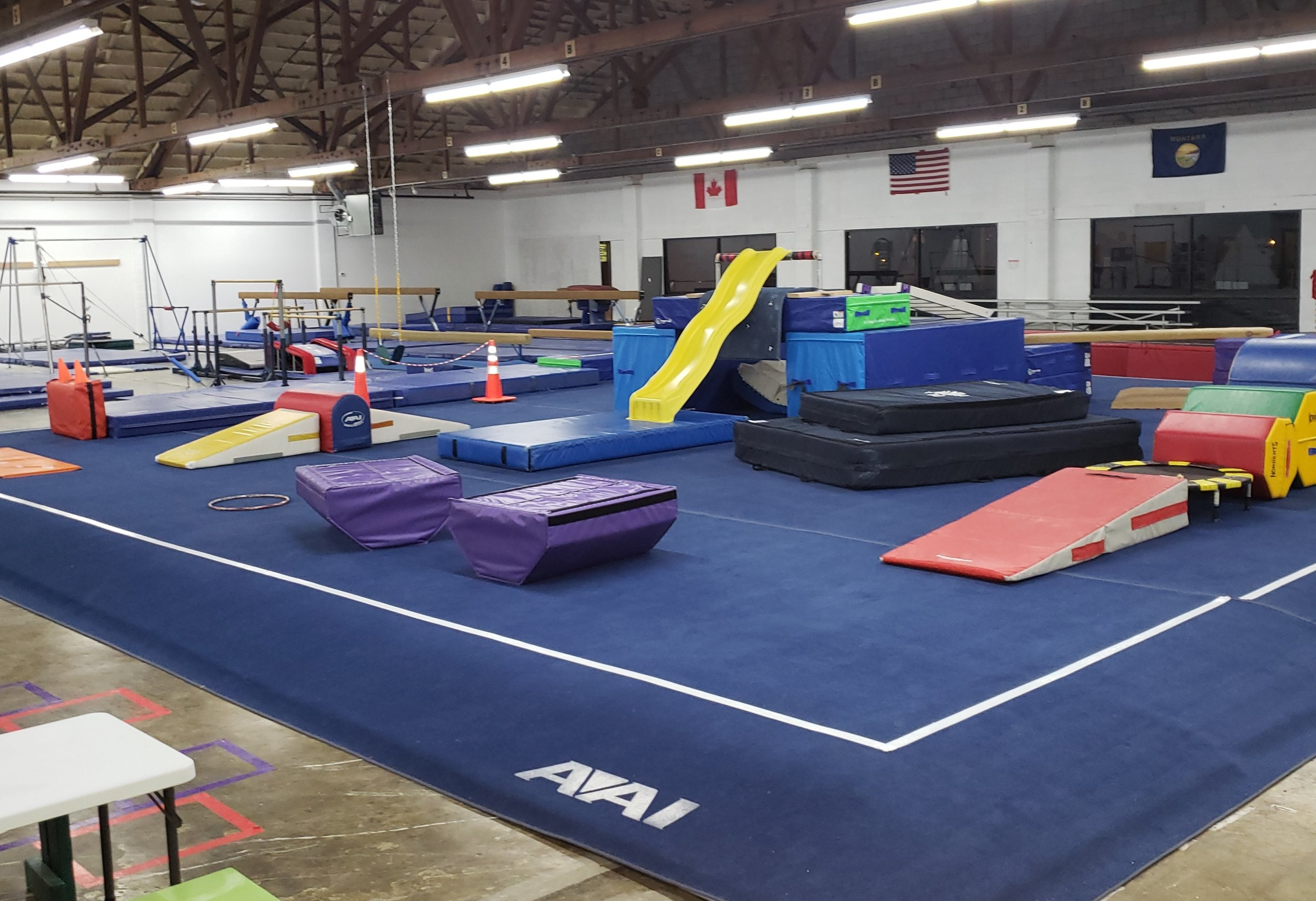 Great Falls - Creative & Fun Circuits - Age appropriate and never the same! Great Falls offers a 40' tumble track, rock climbing, swings and or NINJA training zone.