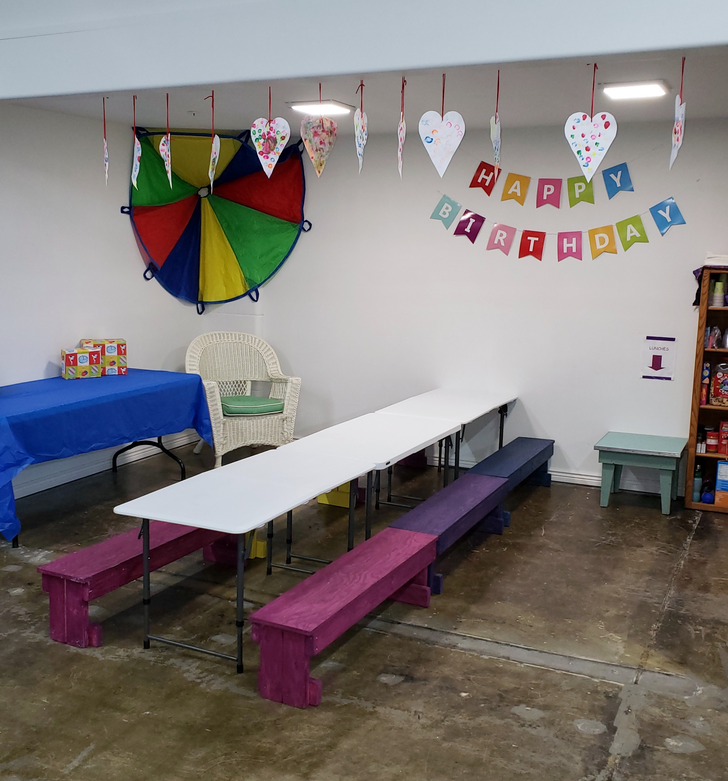 Party area- - Includes sink, counter, refrigerator, freezer, tables, chairs, benches. A variety of seating options are available to meet your needs.