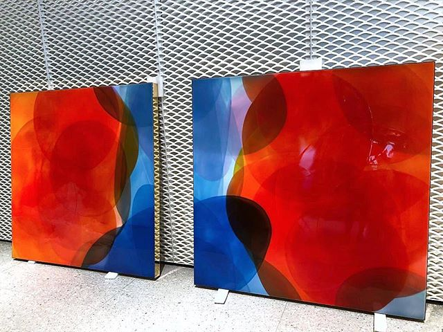 One of my resin diptychs at @AXA Hong Kong office waiting for installation. Bringing colour into the workplace boosts productivity, positivity and creativity. Get in touch if you would like an art consultation for your office / boardroom / lobby 📩 #AXA #NATBOWEN