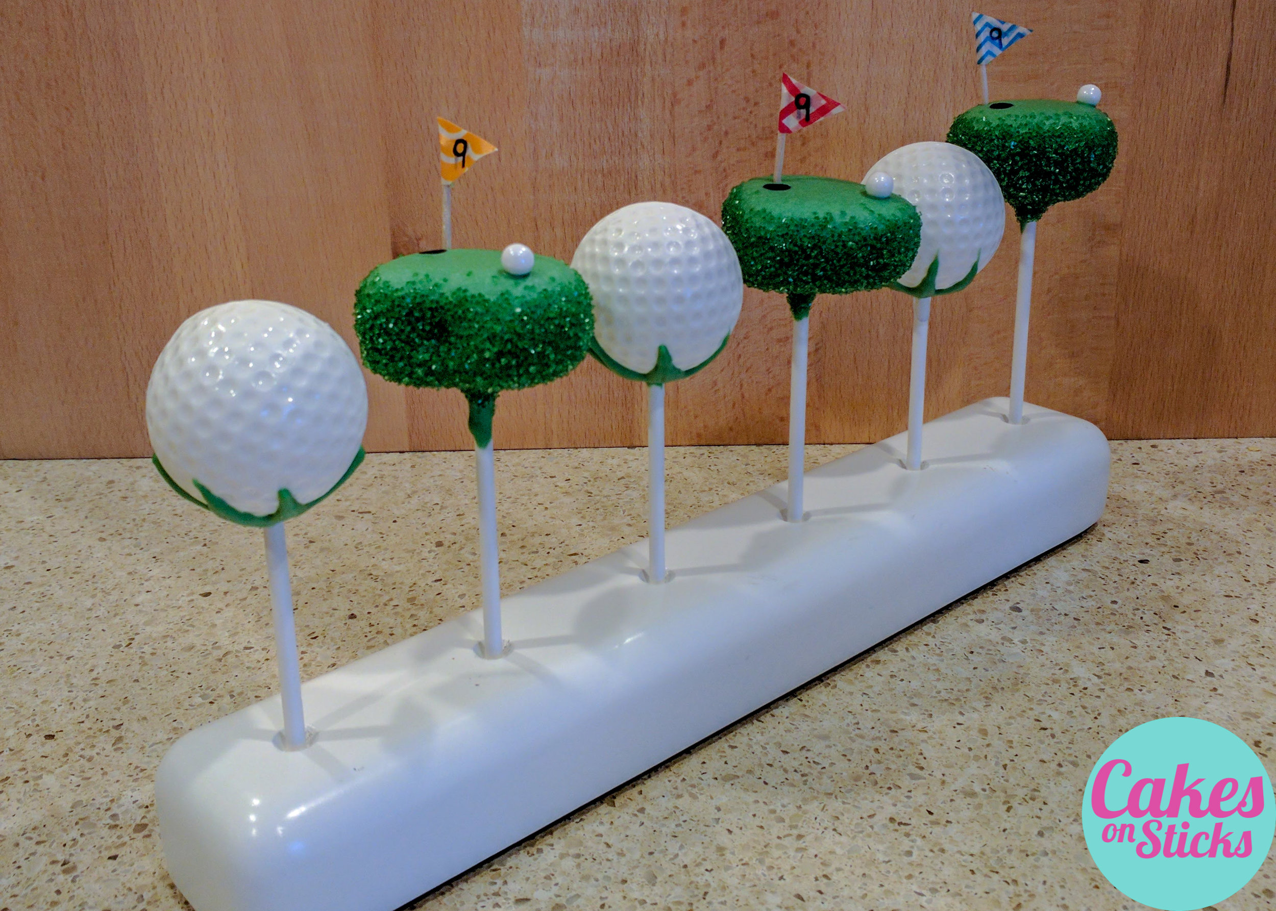 Golf Ball and Putting Green Cake Pops