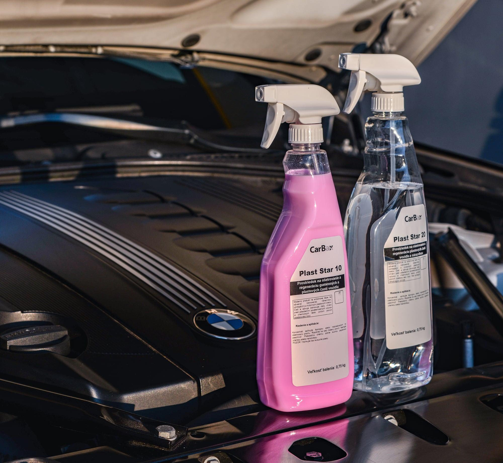 Plast star - INTERIÉR A EXTERIÉRProdukty Plast Star 20 a Plast Star 10 sú ideálne pre bežnú starostlivosť o plastové interiérové a exteriérové časti vozidiel. Plastový povrch dôkladne vyčistia a pri pravidelnom používaní im navrátia pôvodnú farbu a lesk.