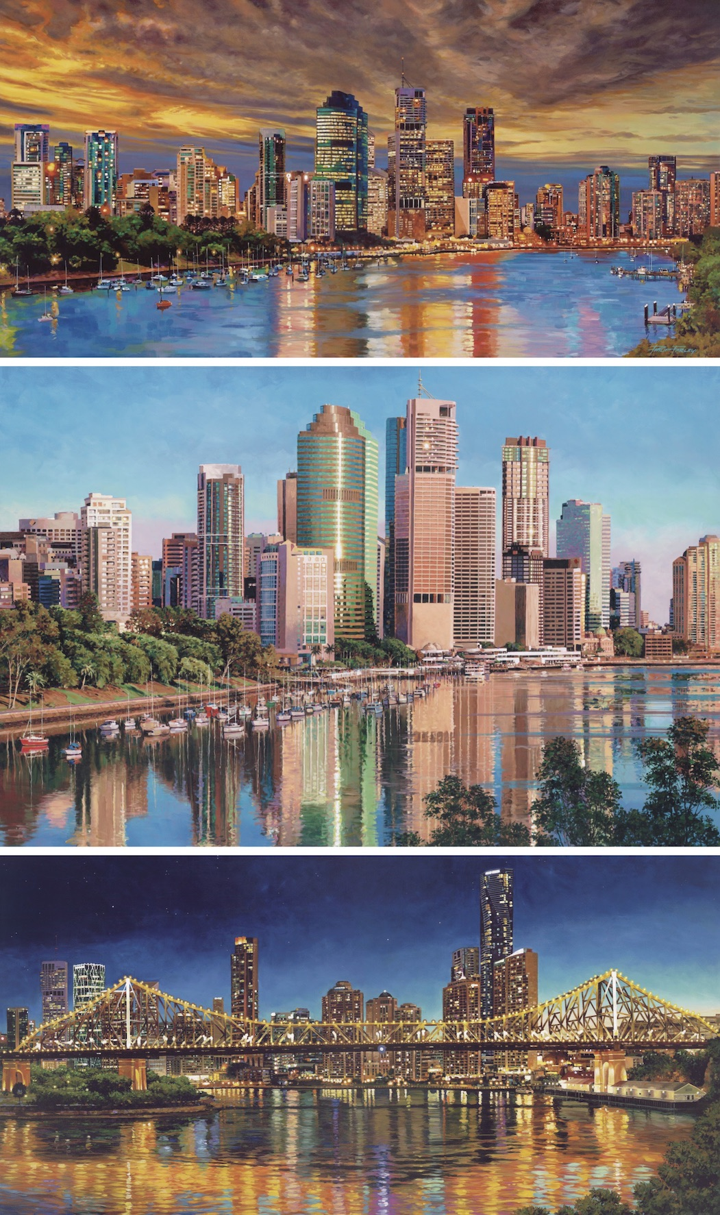 "Corporate Testimonial - ""My company commissioned Phil Farley to do three large paintings based on the theme ""Brisbane City Scapes."" The three works are an amazing reflection of the Brisbane city skyline, Story Bridge and Brisbane River views. Visitors to our office continue to express very positive feedback on the paintings. We have even had comments from visitors saying they can't believe the paintings aren't actually photographs – that's how detailed the artwork is. Phil is truly a master artist, and certainly top of his class in the Australian art scene.""Dr Mel BridgesChairmanThese 3 paintings are now for re-sale,Go to Originals page to view these."
