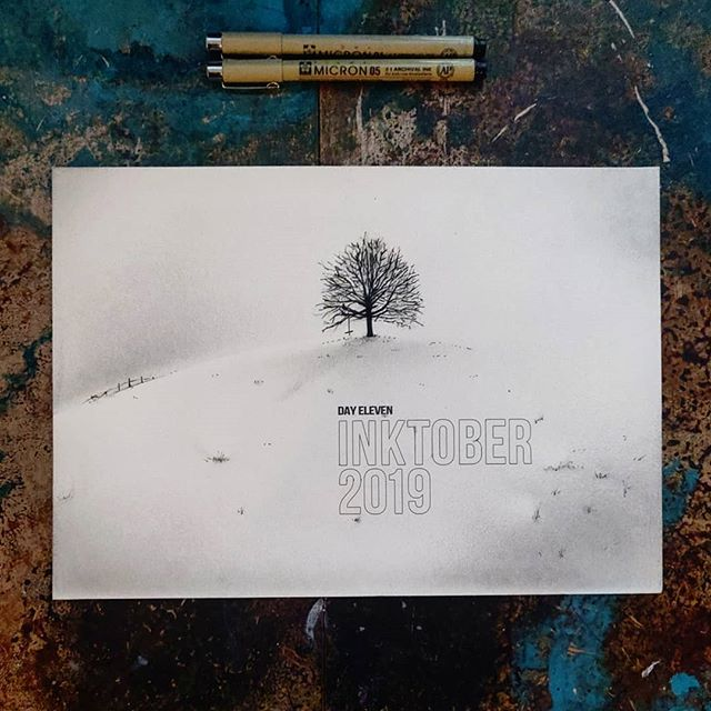 #inktober2019  Day Eleven: Snow  I didn't want to repeat what I did with freeze earlier in the month, and I wanted to see how far I could push the dry brush technique I use for soft blends - crazy difficult. Wish I had used the airbrush again, it would've taken minutes, but happy with the outcome though, learned a lot.  In contast, it was really nice to be doing type against white - so much easier with a micron pen and when you can see what you're doing.  #inktober #ink #drybrush #snow #field #swing #fun #winter #cold #playingcatchup #handtype #design #illustrationoftheday #illustration #art #artistsoninstagram