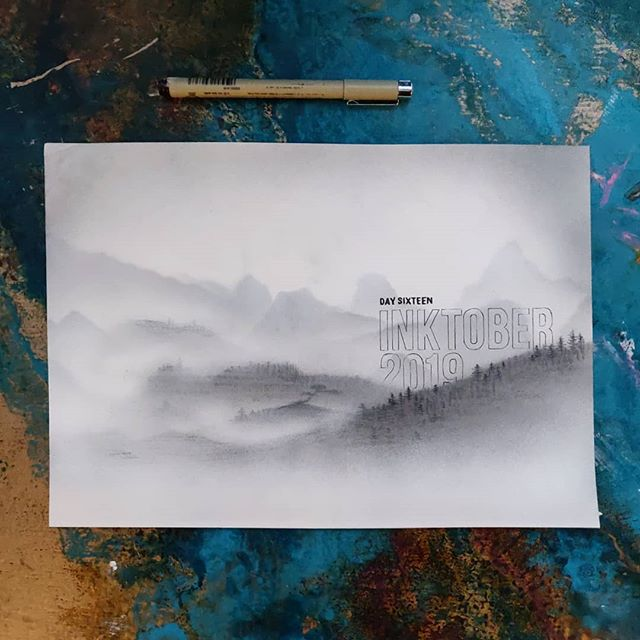 #inktober2019  Day Sixteen: Wild  Massively behind but this was great fun. I tried doing the type without a ruler or curves, but being that fine it's a real challenge. Still, better than I could do before I started, it's been great practice so far.  #inktober #ink #mistymountains #mist #landscape #trees #forest #illustrations #illustrationoftheday #drawing #modernillustration #art #artistsoninstagram #airbrush #spray #handtype #handlettering