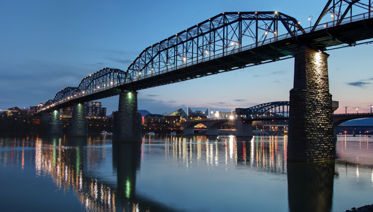 The Walnut Street bridge over the Tennessee River in Downtown Chattanooga.