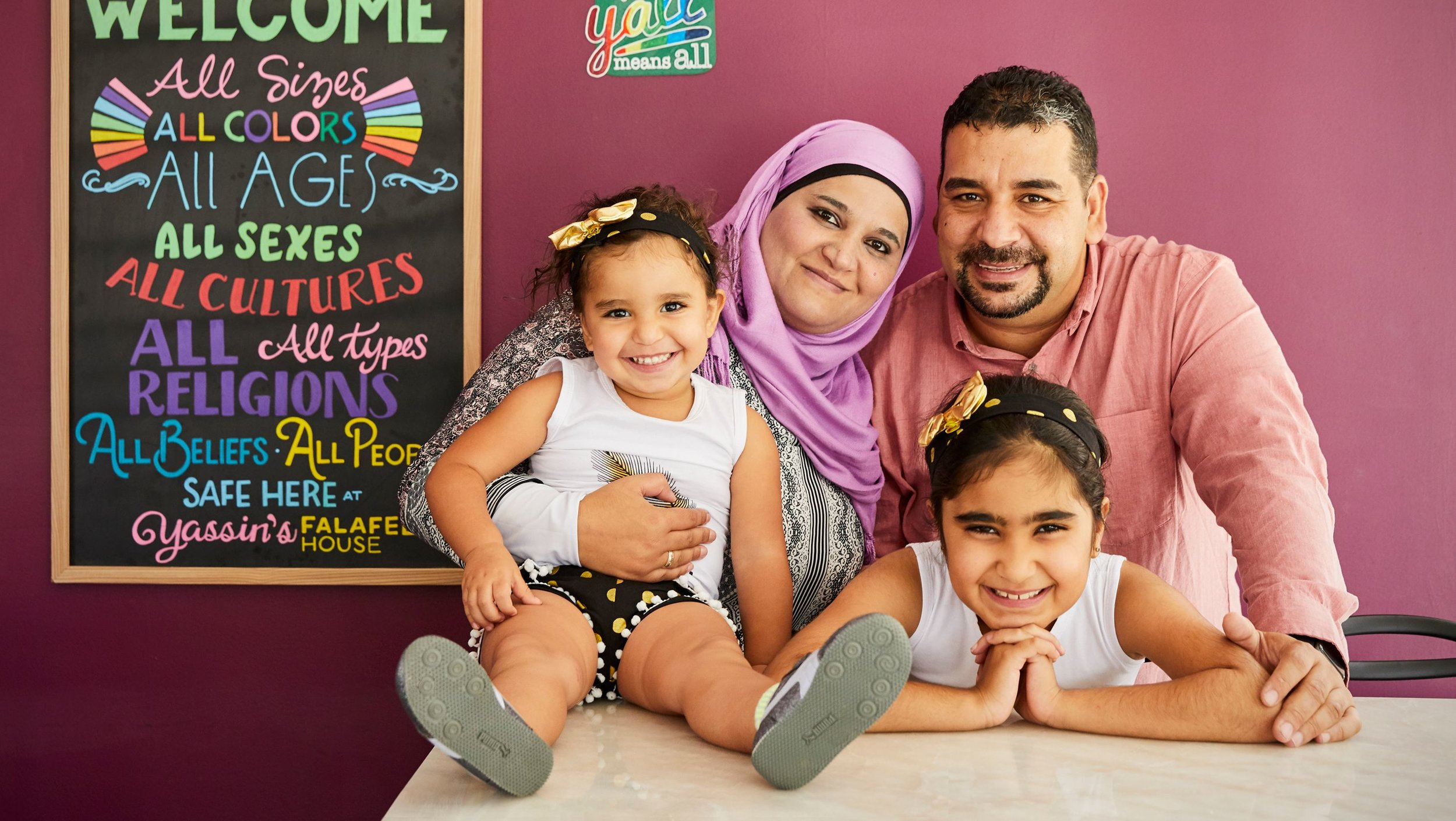 Amanda Friedman  for Reader's Digest    Yassin Terou with his wife, Jamileh Al Saghir, and daughters Shaam (left) and Judy