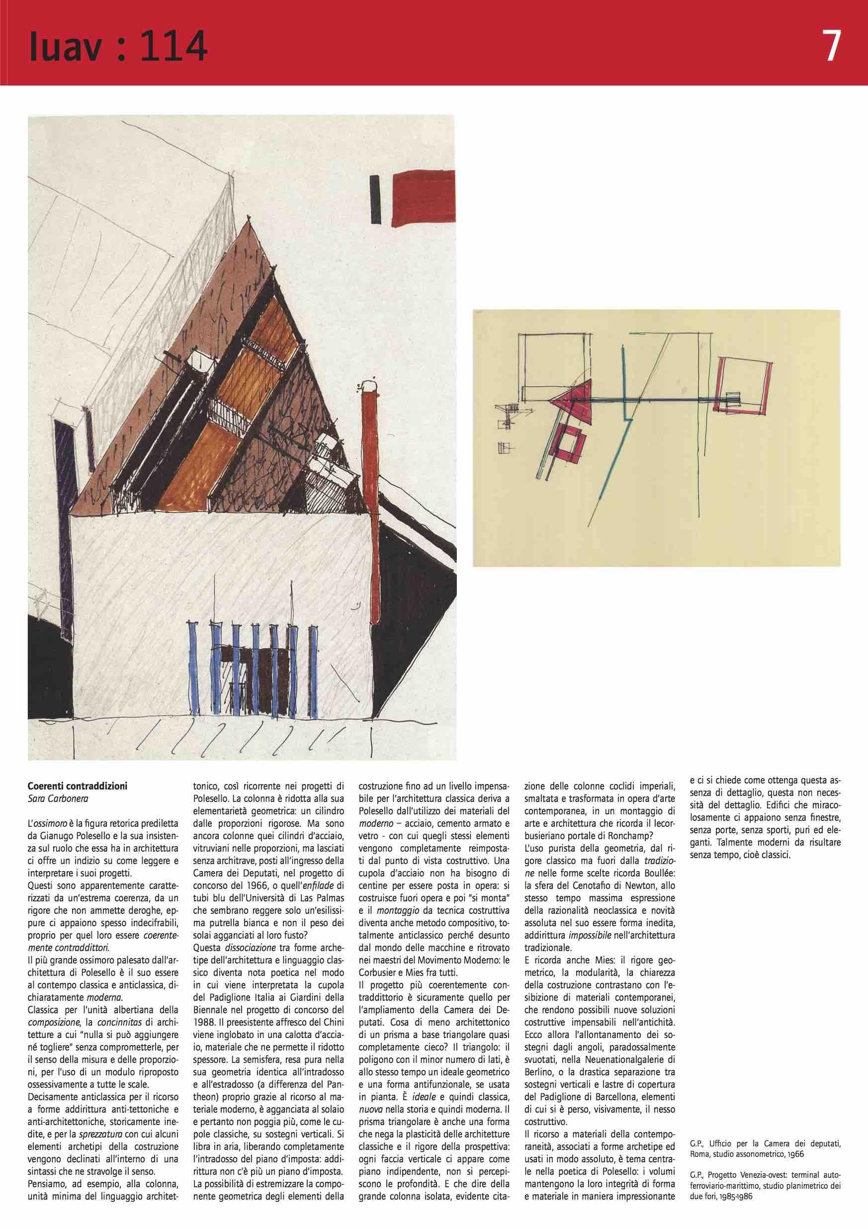 """Sara Carbonera, """"Coerenti contraddizioni"""", in G. Rakowitz (a cura di) """"GIANUGO POLESELLO Maestro dell'indecifrabile. Auto-ritratti veneziani"""", Giornale IUAV 114, Venezia 2012, p.7"""