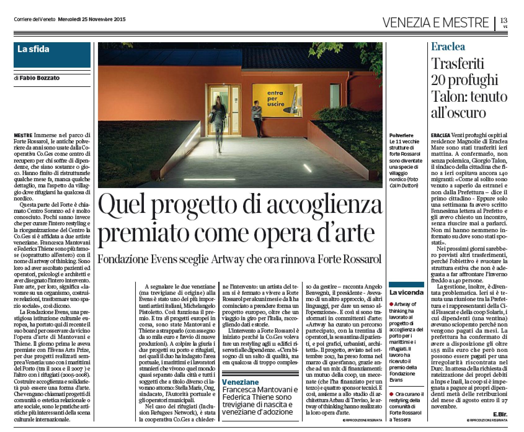 Corriere del Veneto, 25/11/2015