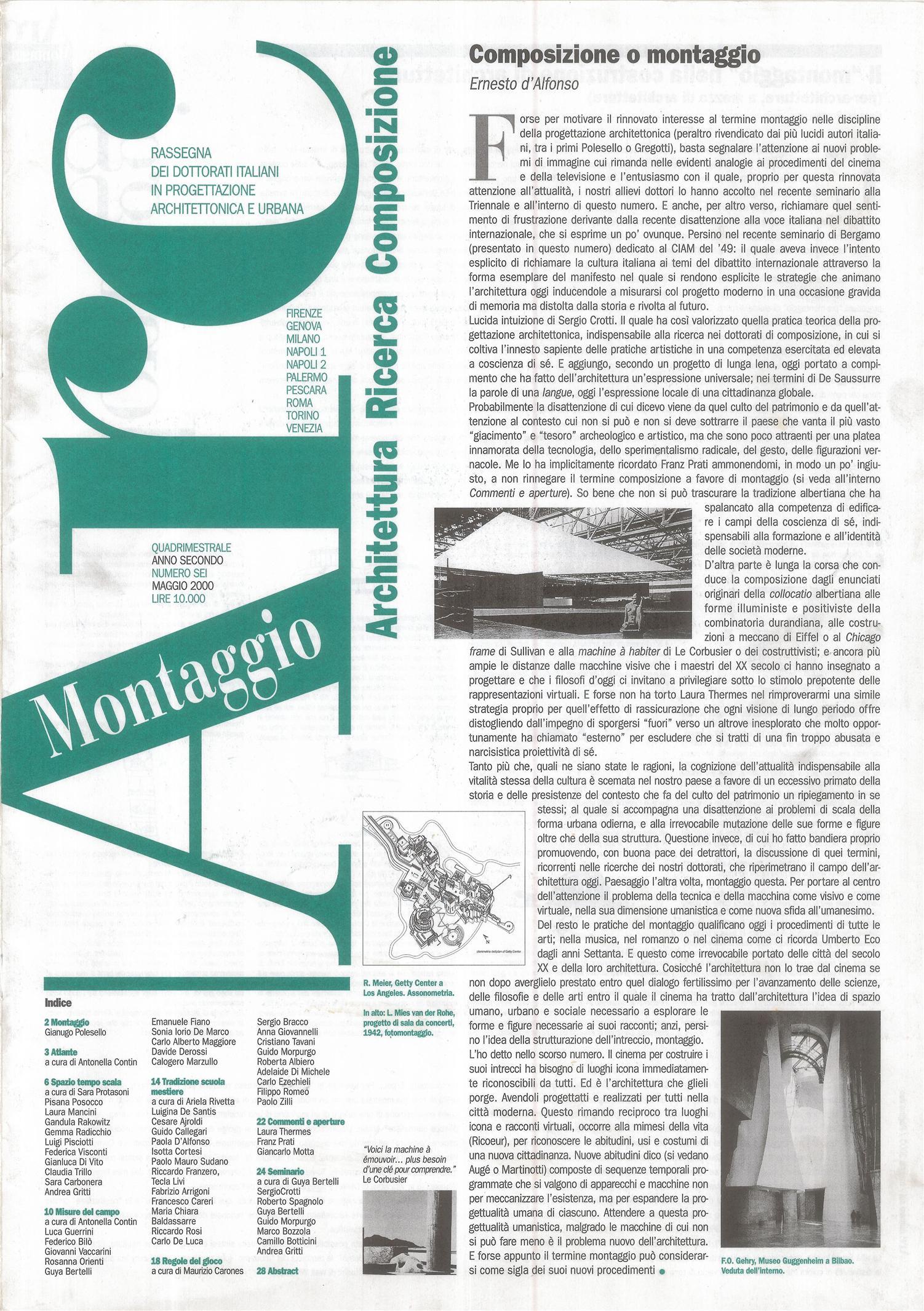 """Sara Carbonera, """"Architettura, paesaggio, infrastrutture"""", articolo in Arc n.6, maggio 2000"""