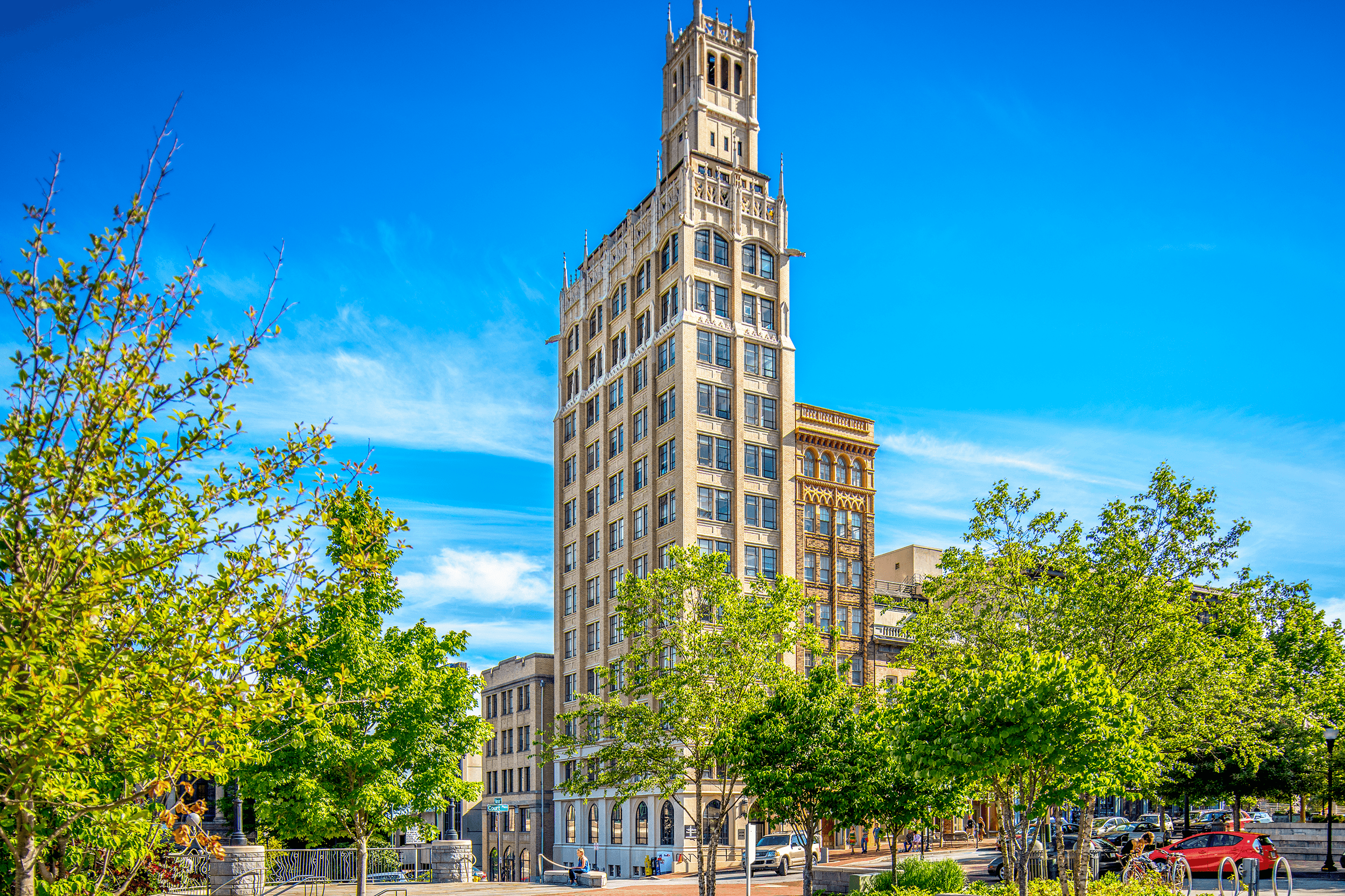 When the  Jackson Building  was completed in 1924, it was not only Asheville's first skyscraper but also the first skyscraper of Western North Carolina.