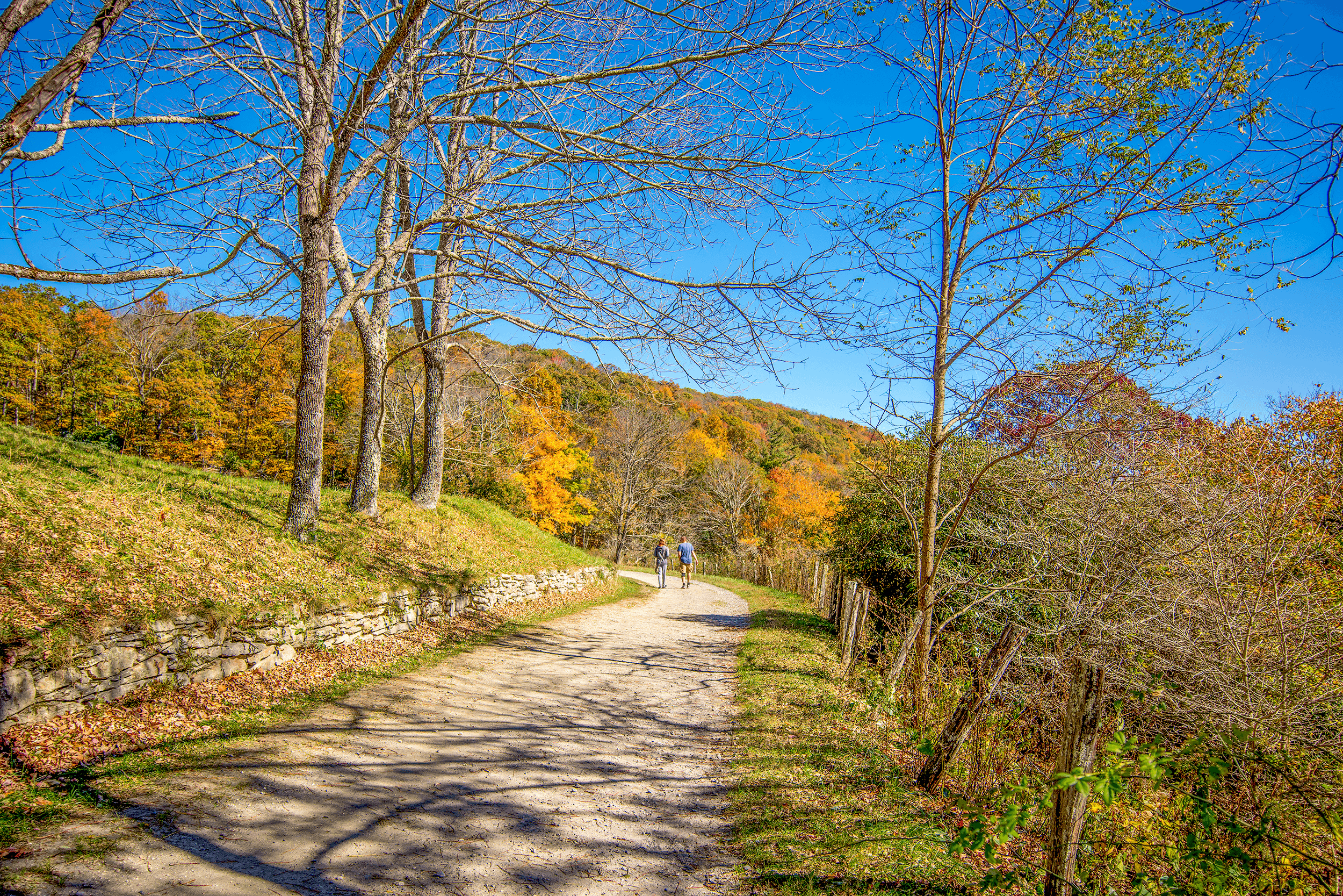 As the trails were made for horse-drawn carriages, the incline is usually very gentle and the hike very enjoyable. The trails vary in length. The trail from the Flat Top Manor to Bass Lake along Deer Park Road is roughly 1.6 miles (2.6 km) long.