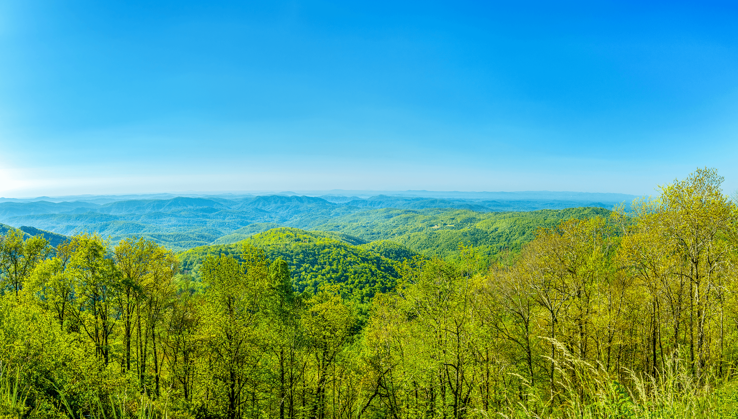 The east-facing  Yadkin Valley Overlook  is a small pull-off at Milepost 289.8 on the  Blue Ridge Parkway . From an elevation of 3,830 feet (1,167 meters), the overlook offers sweeping panoramic views of the Yadkin Valley.