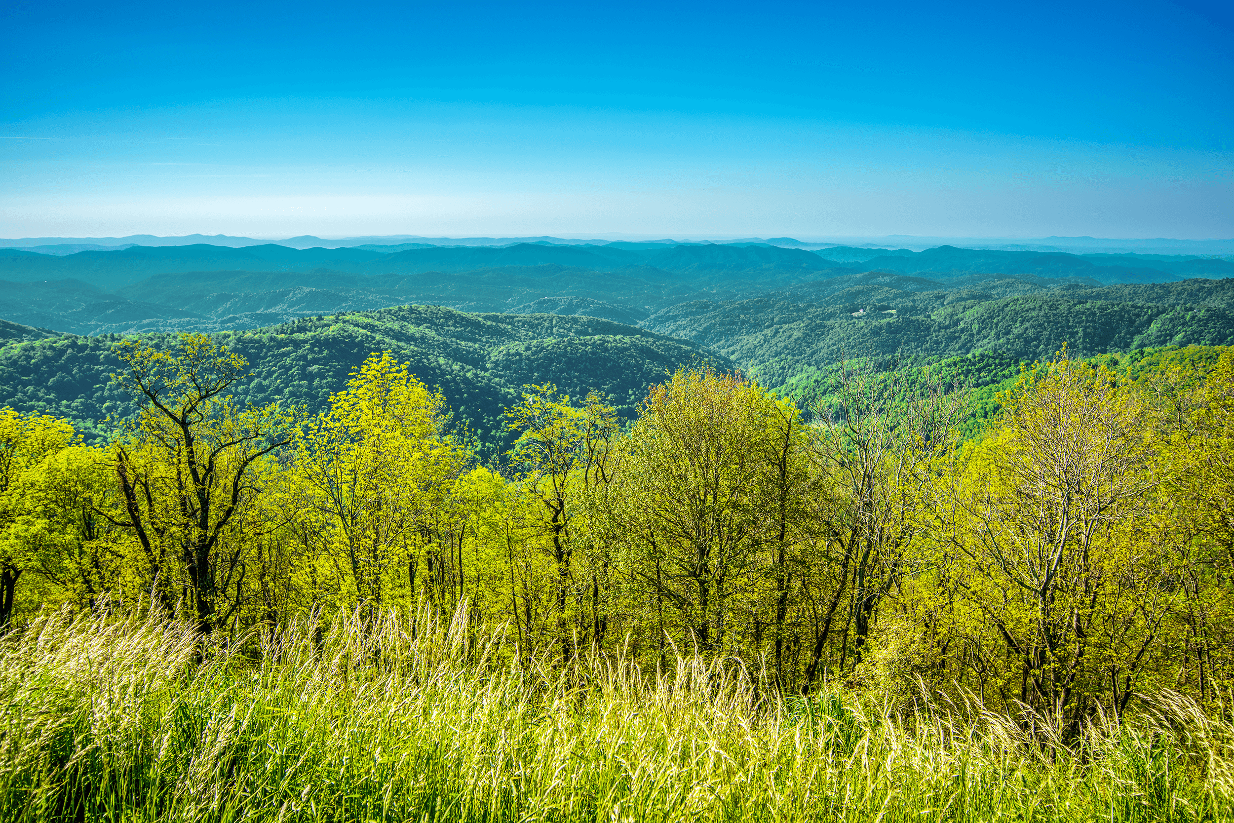 The  Thunder Hill Overlook  is a popular photo stop. From an elevation of 3,795 feet (1,157 meters), you can take stunning panoramas of the Piedmont below. For best pictures, you may want to visit the overlook in the late afternoon or in the evening, when the sun is behind you, or in the early morning, when the sun shines from the east.