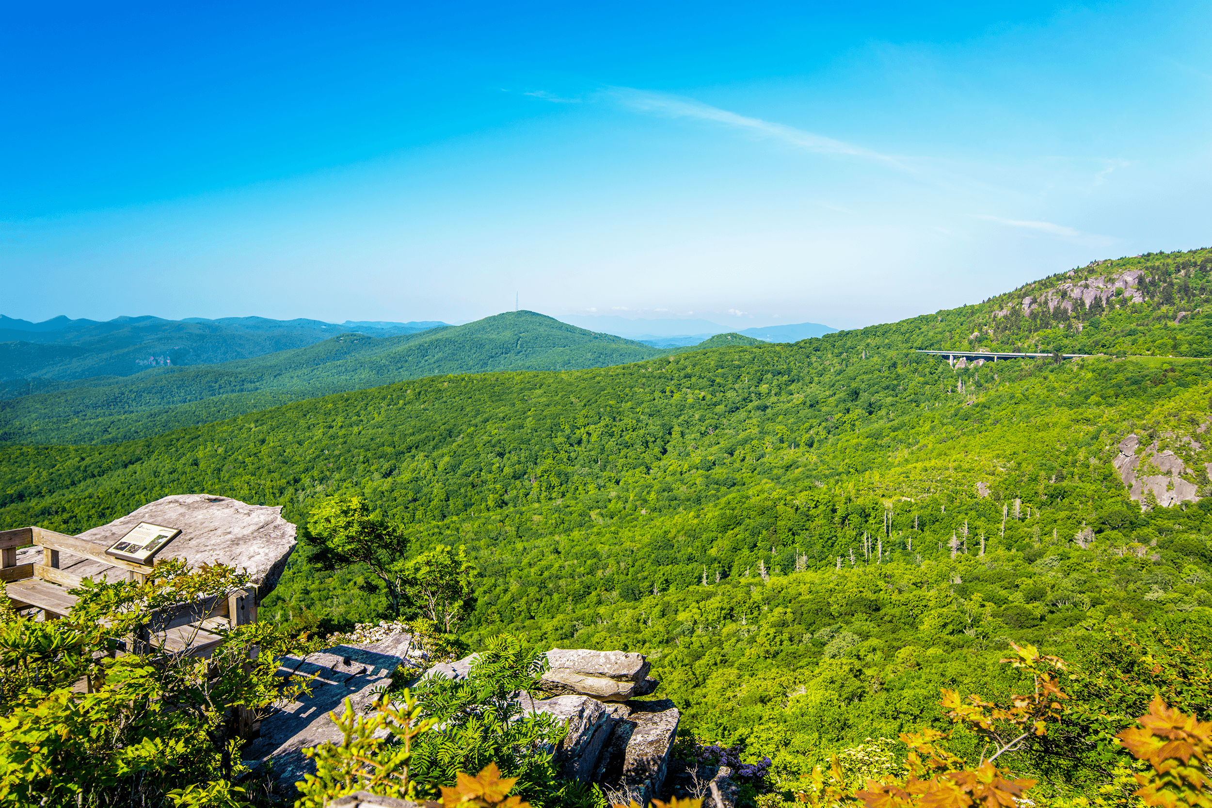 The  Rough Ridge Overlook  is located just 2 miles (3 km) from the Linn Cove Viaduct and offers not just picture-perfect views of this construction marvel, but also breathtaking panoramic views of  Grandfather Mountain  towering high above the  Linn Cove Viaduct .