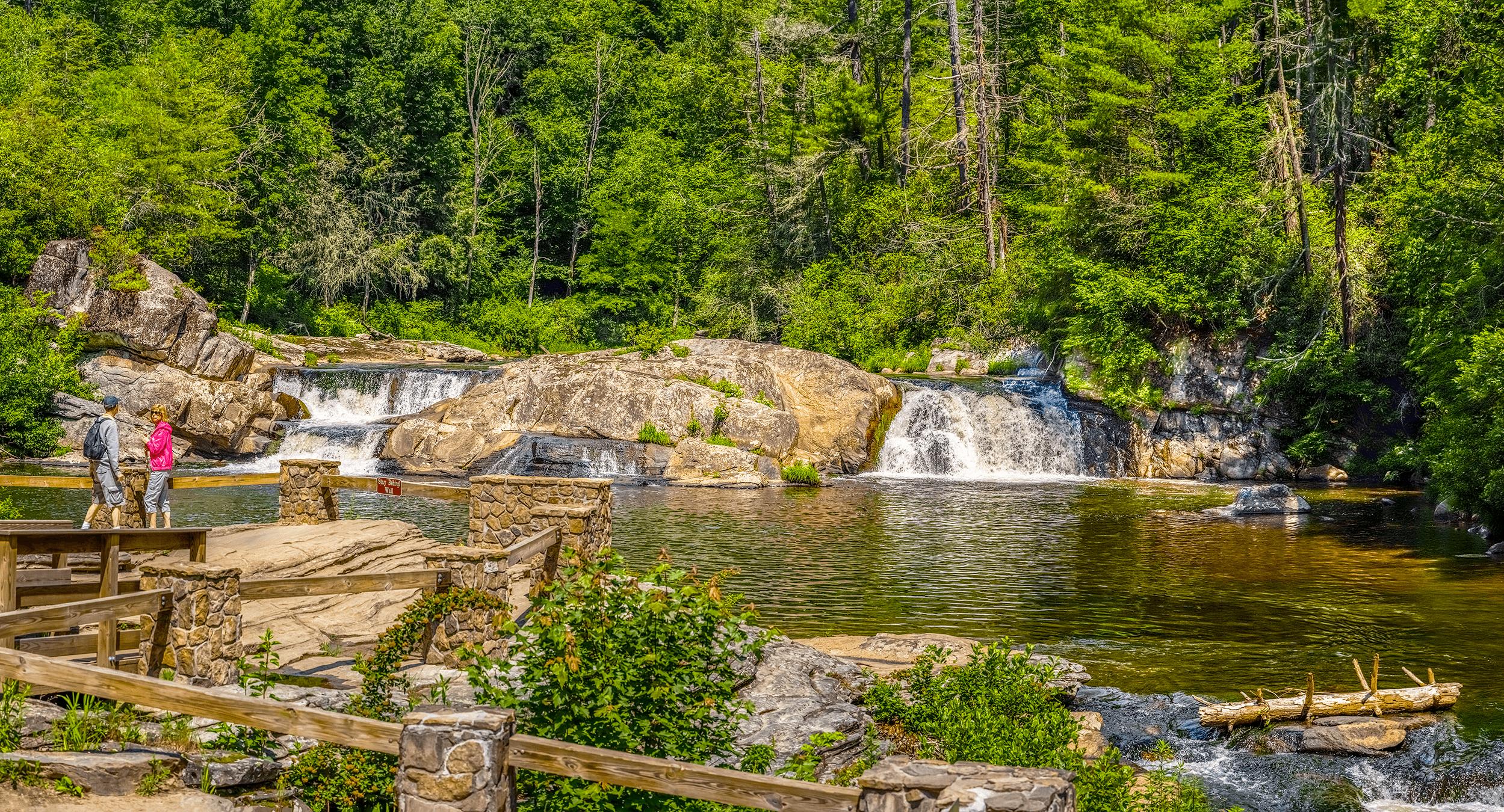 The  Upper Falls Viewing Platform  is an easy 0.5-mile (0.8 km) hike up from the  Visitor Center . It offers picture-perfect views of the rather gentle  Upper Falls . The  Linville River  widens here as it would pause before...