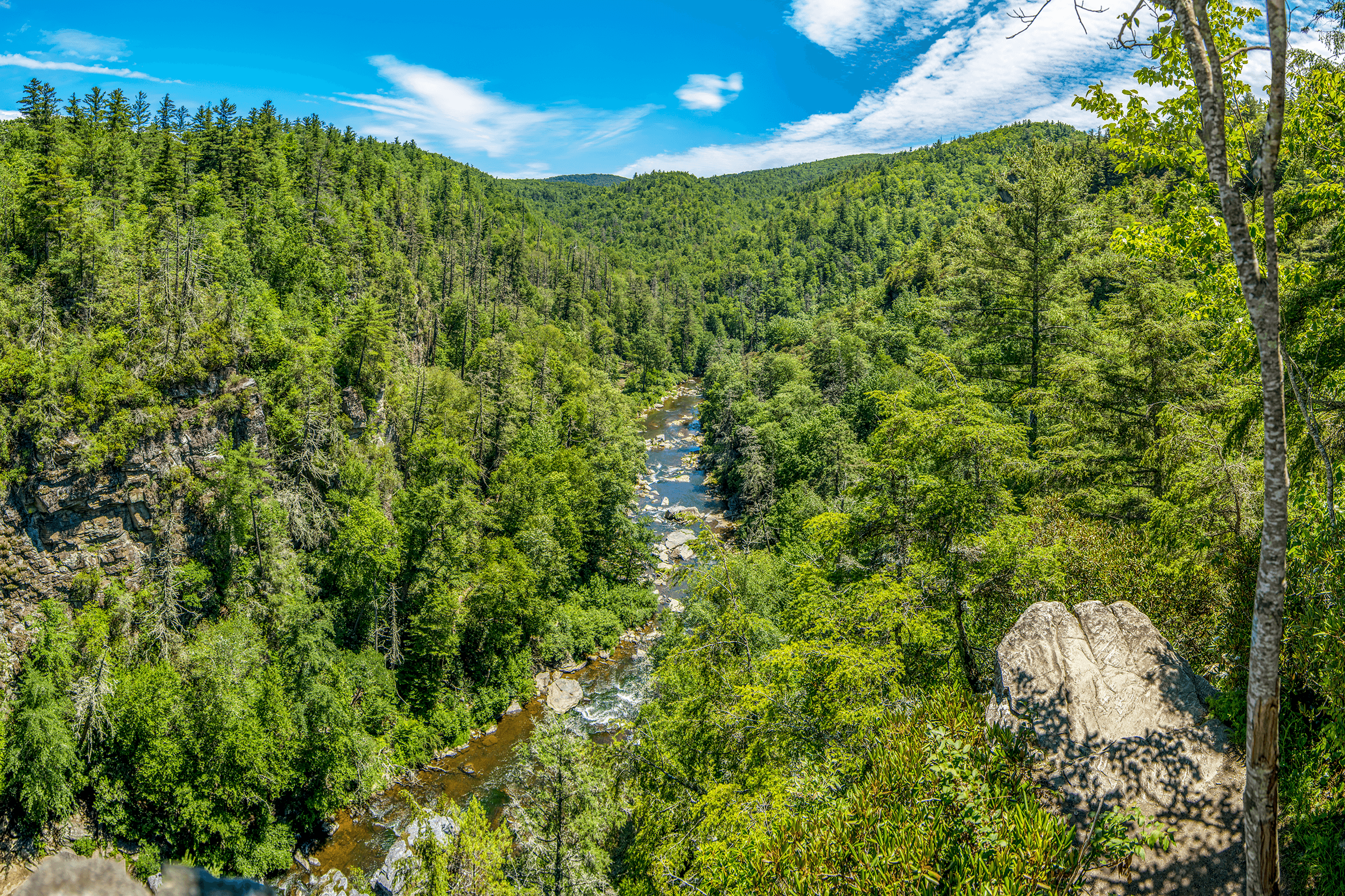 The second platform at the  Chimney View Overlook  allows views of the falls from a slightly different angle and stunning views of the  Linville River  cutting its way through the  Linville Gorge Wilderness Area .