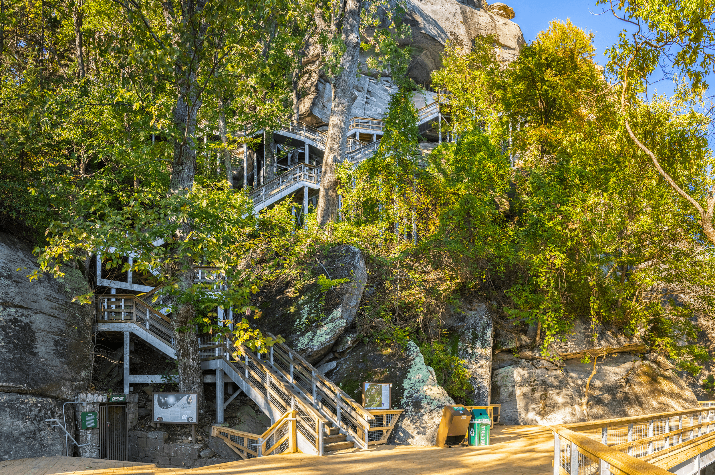The  Outcroppings Trail  is also nicknamed the  Ultimate Stairmaster  due to its 499 stairs climbing up 26 stories to the top of the Chimney.
