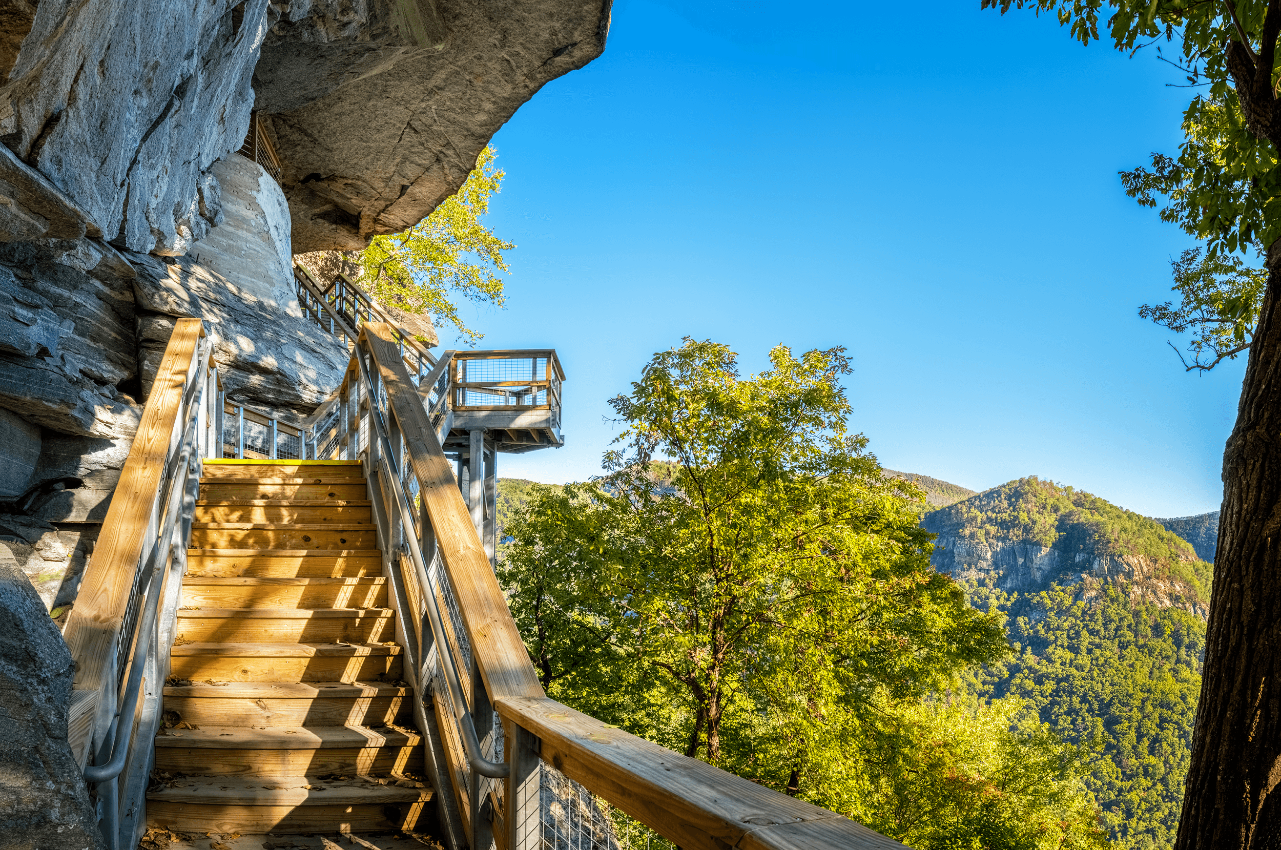 At the first fork up the staircase, the path to your right leads to the  Grotto , from where you can take a shortcut through the  Subway  around  Pulpit Rock .