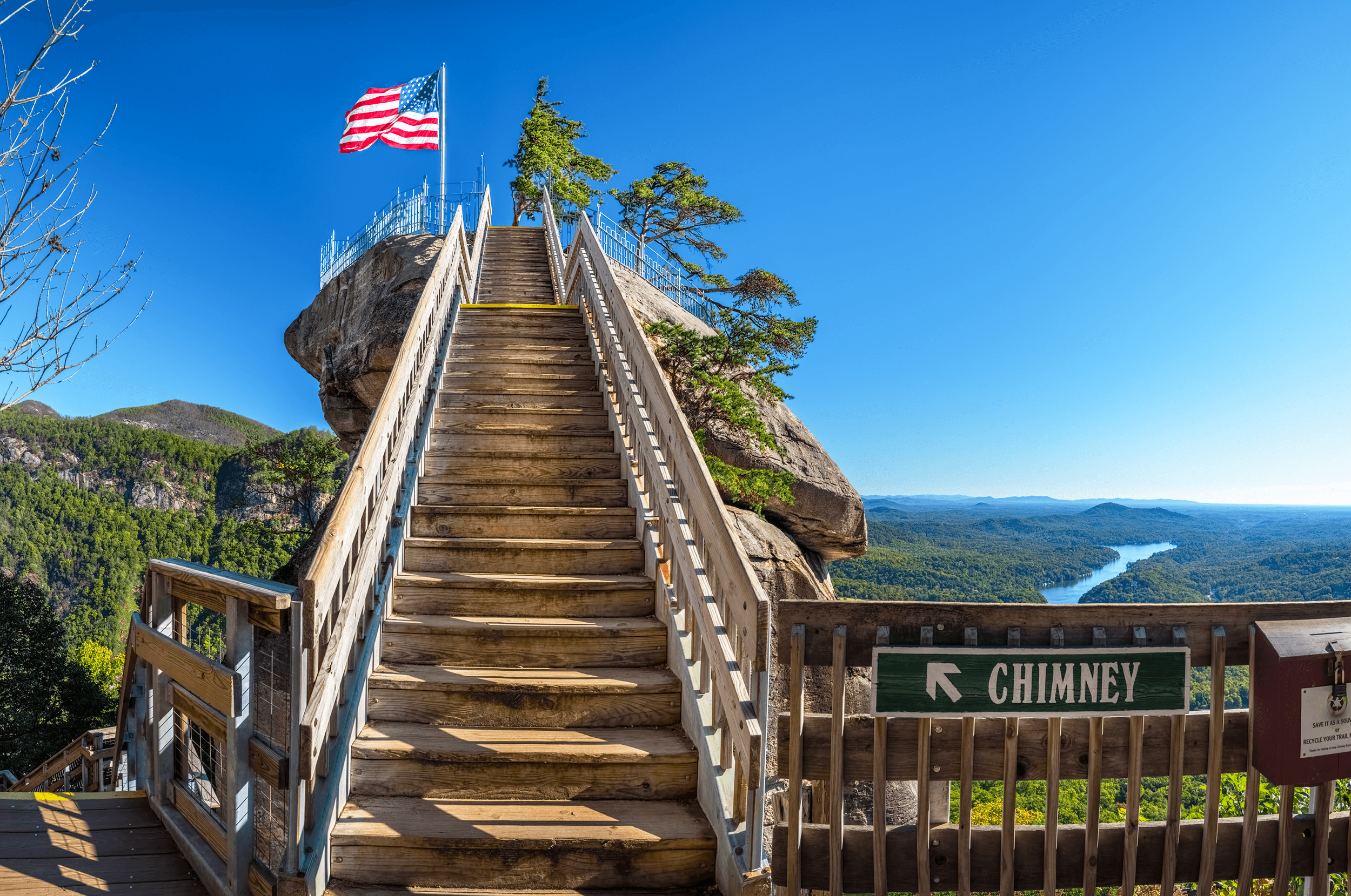 The last few steps to the top of  Chimney Rock . Once there, you have not only conquered the 499 steps but also have reached an elevation of 2,280 feet (695 meters), from where you can enjoy incredible views.