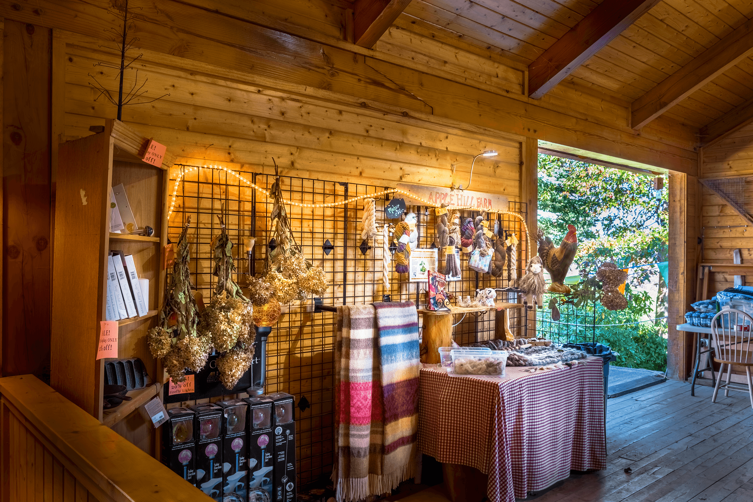 Tours usually end on the second floor of the barn, where a display showcases different animal fibers, which you can touch and feel the difference between them.