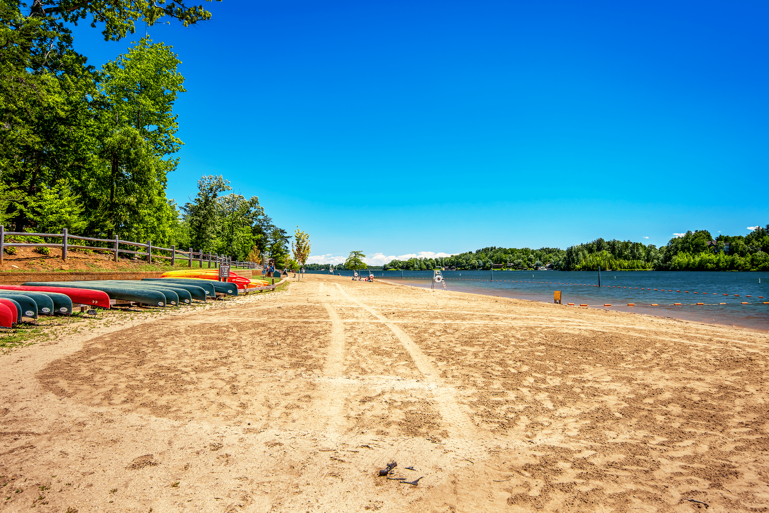 From May to September, the beach is open for swimming in the lake. When lifeguards are on duty, there is a small fee to swim. Between Memorial Day and Labor Day, canoes and kayaks are available for rent near the concession stand.