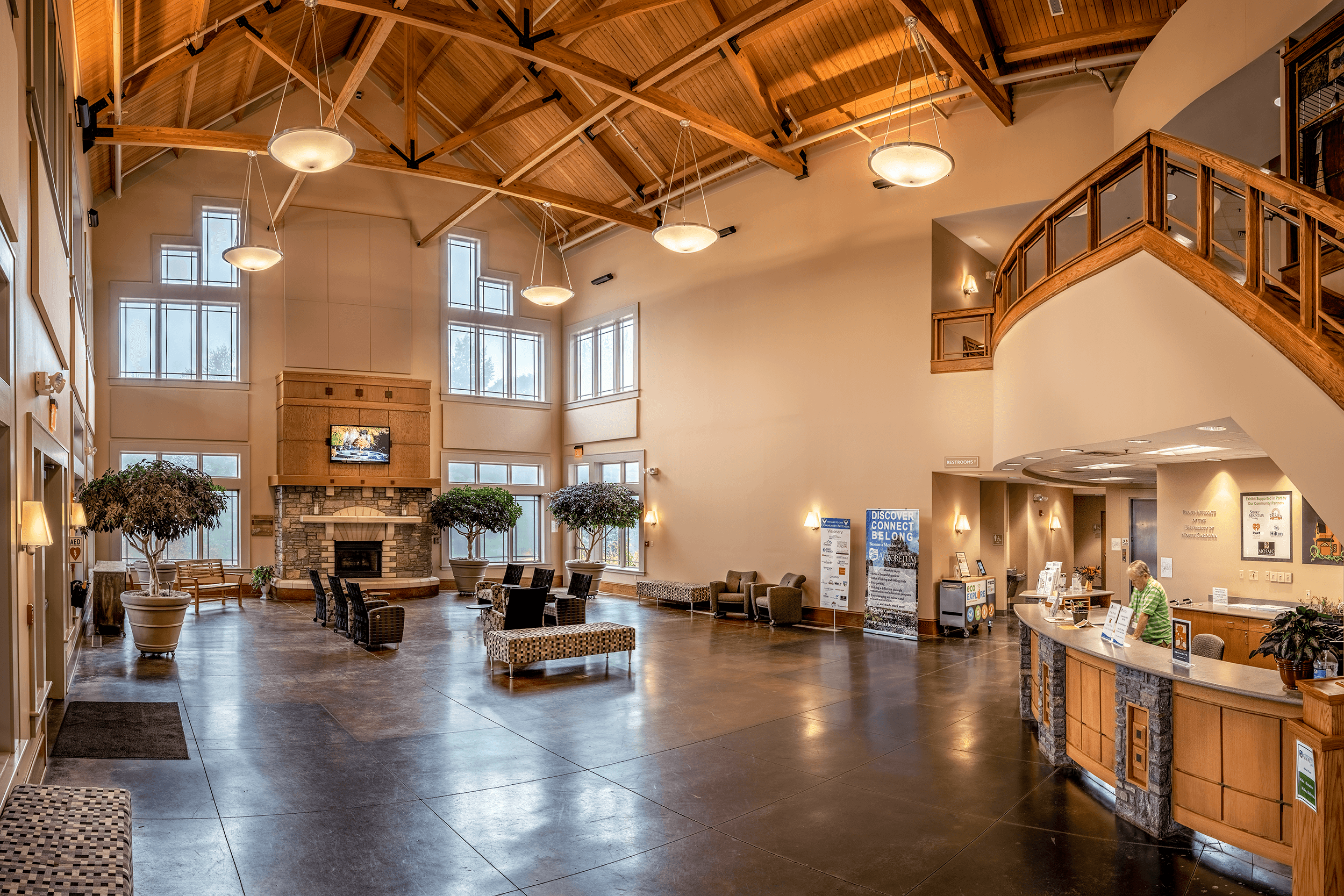Inside the  Baker Exhibition Center  you can pick up trail maps and guides as well as purchase souvenirs from the  Connections Gallery  gift shop on the second floor. From the second floor, you have access to the  Baker Landscape  and the  Heritage Garden .