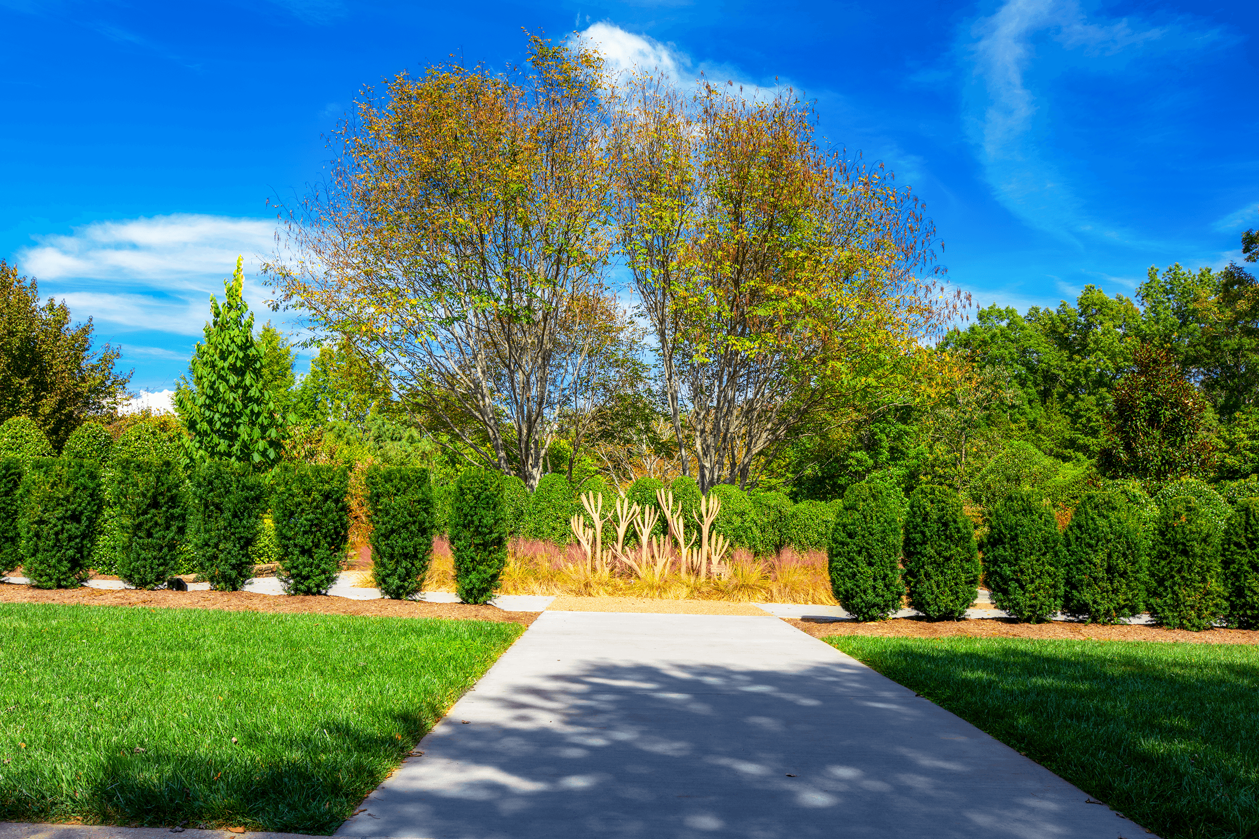 Benches are nicely placed throughout the garden to relax and admire the beautiful vistas and fantastic artwork.