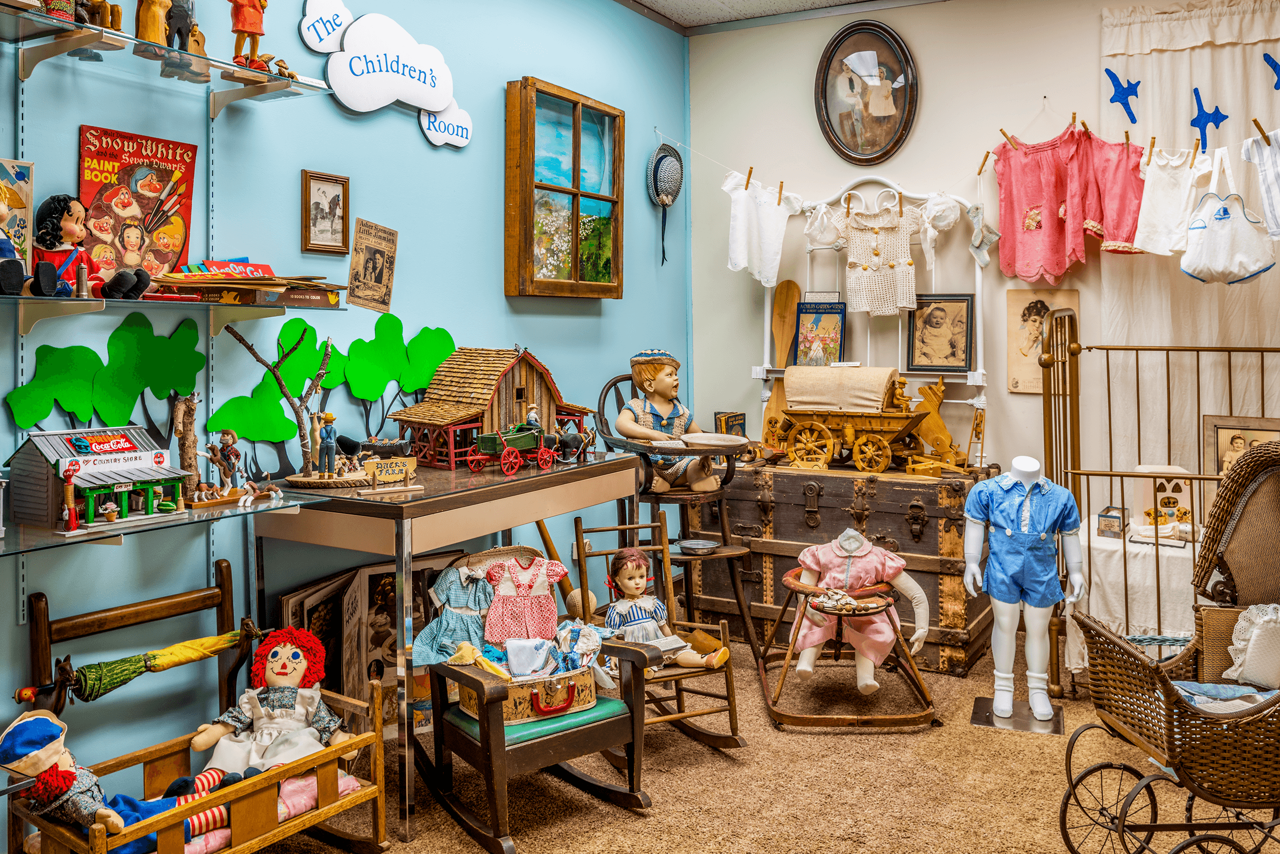 The  Children's Room  displays toys, clothing, and furniture ranging from the 1930s through to the 1970s.