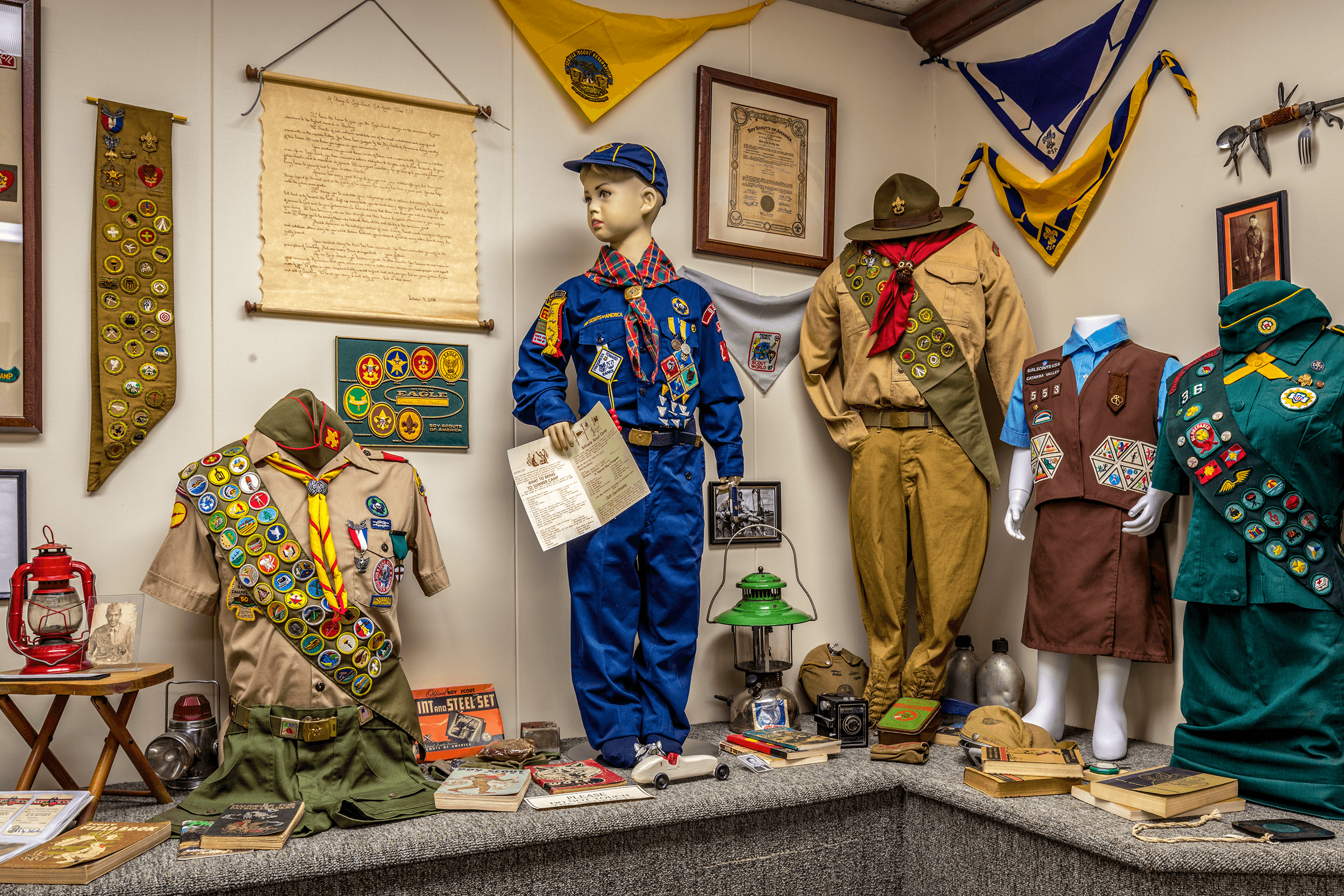 The museum is home to many extensive collections, which were donated by Burke County residents. Featured here is the collection of Boy Scouts and Girl Scouts memorabilia including badges and uniforms from the 1930s through to the 1970s.