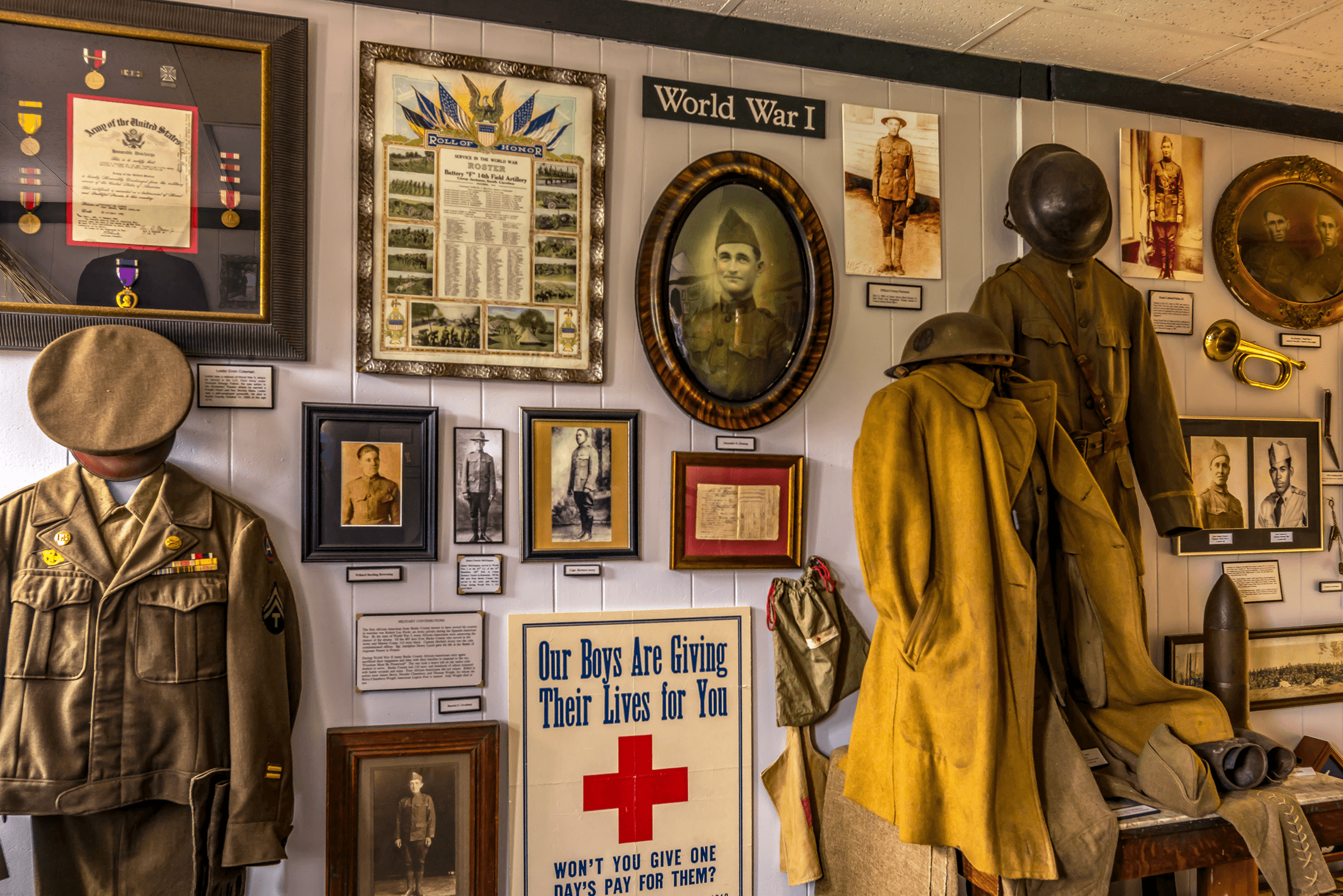 On the main floor, an area is dedicated to wartime memorabilia and personal belongings from Burke County residents, who served in all branches of the military.
