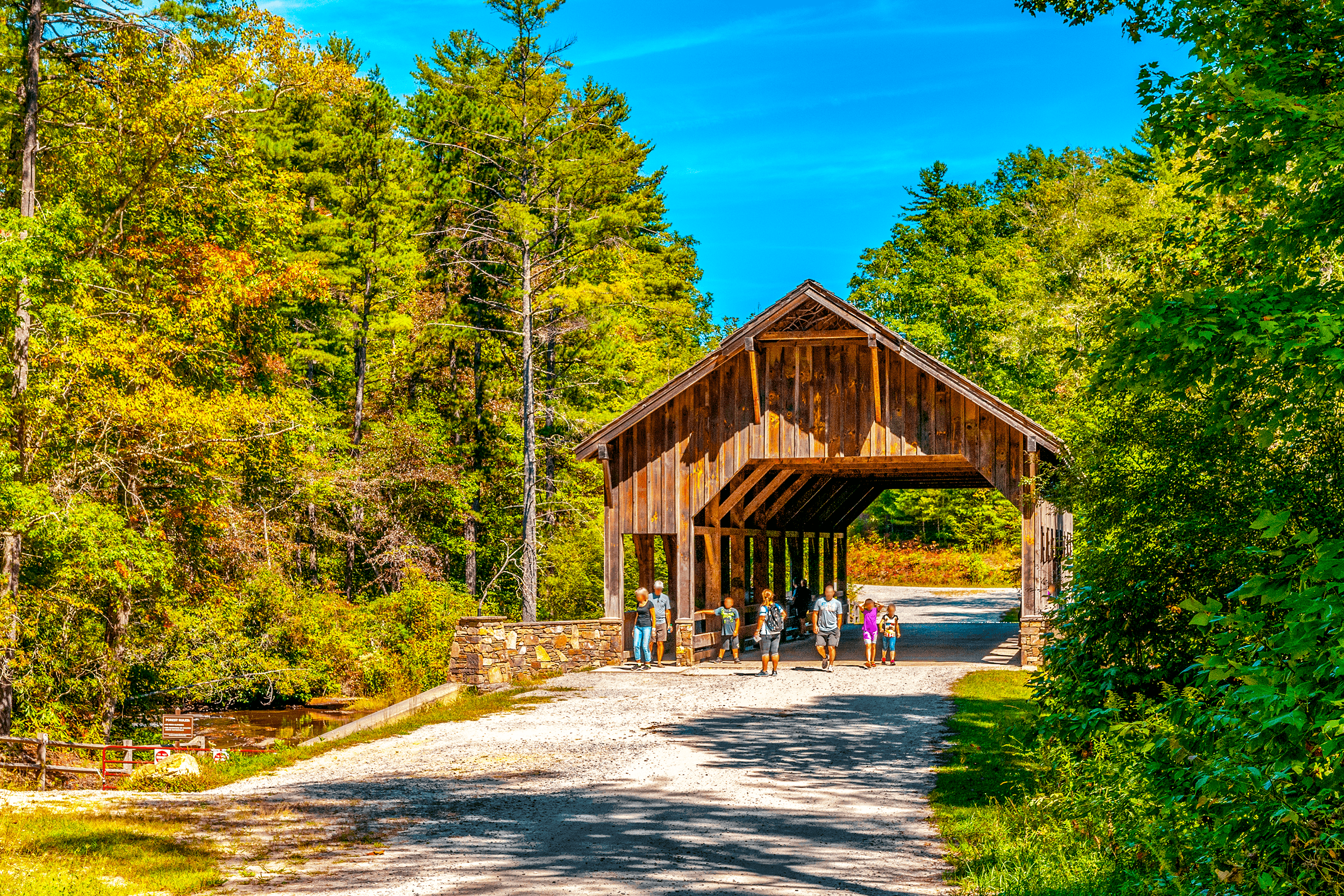 The forest road going over the  Wooden Bridge  connects back to the  Visitor Center .