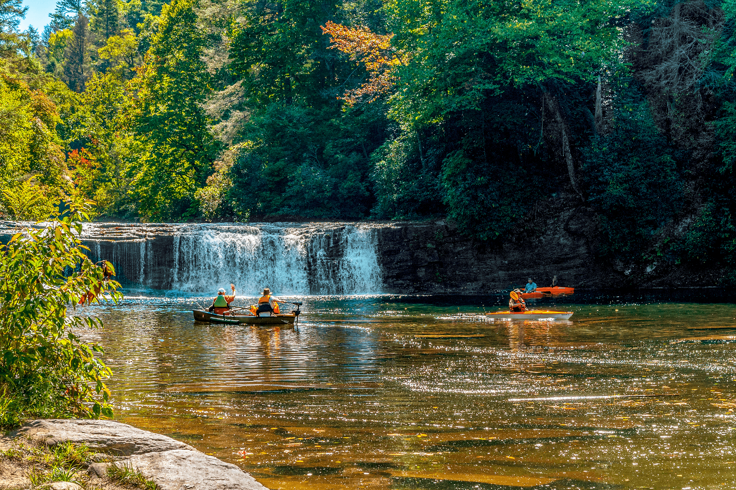 And finally  Hooker Falls , which is only 12 feet high, but a great destination for anglers, swimmers and kayakers. It is also a beautiful location to have a picnic.