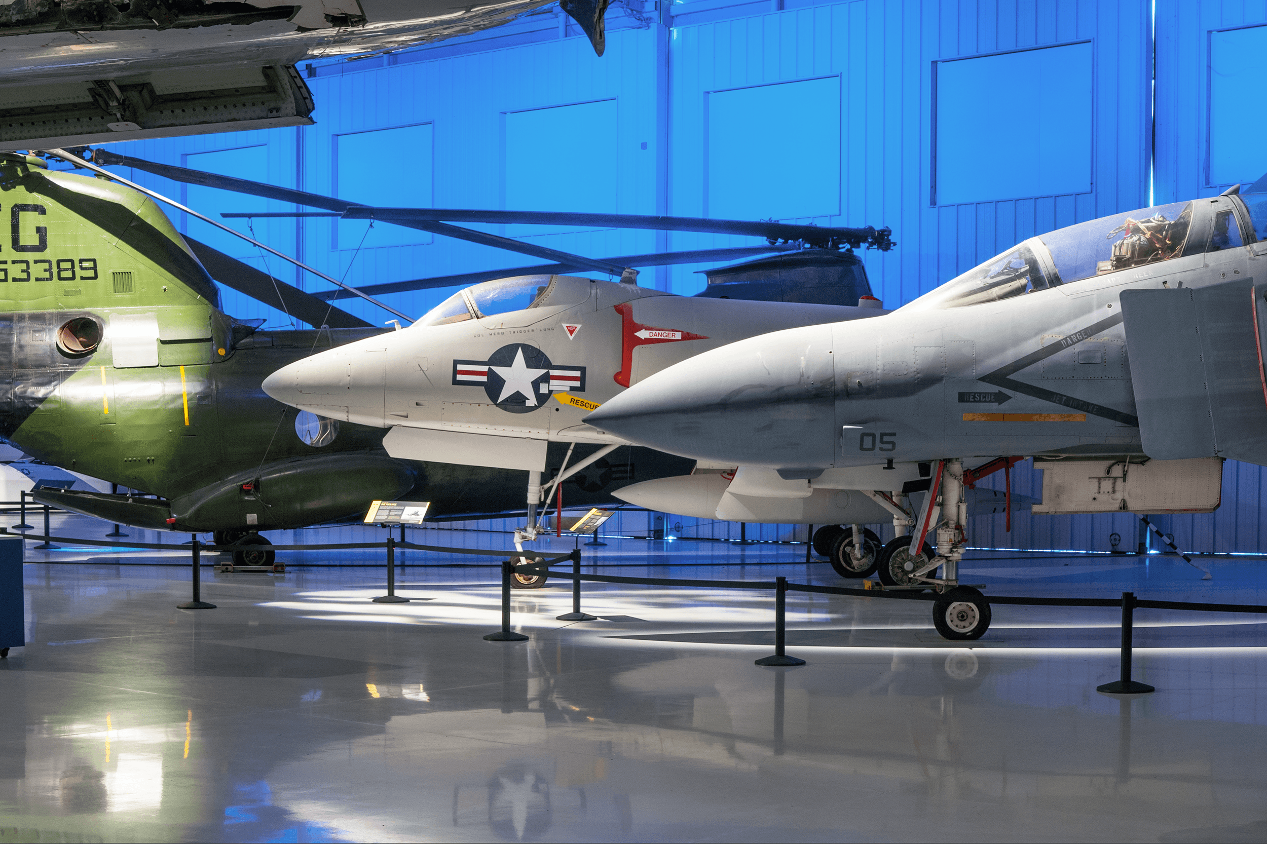 The F-4 Phantom II ( right ) was initially designed in the late 1950s as an attack plane for the new aircraft carriers. The F-4 was fast, flying up to Mach 2.2 and could carry up to 18,650 pounds of missiles and bombs. The A-4 Skyhawk ( middle ) was a subsonic, lightweight aircraft that could operate from existing WWII-sized aircraft carriers. The Boeing CH-46 Sea Knight ( left ) first entered service in 1962 and was deployed throughout the Vietnam War by transporting soldiers into inaccessible areas, often behind enemy lines.