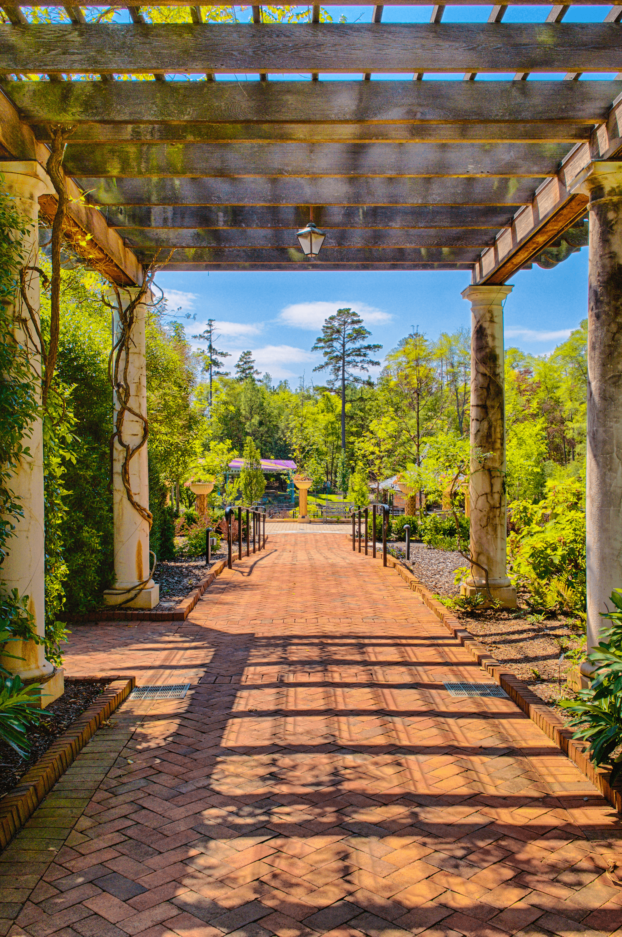 The  East  and  West Pergolas  allow for some shade in the summer and of course more amazing views.