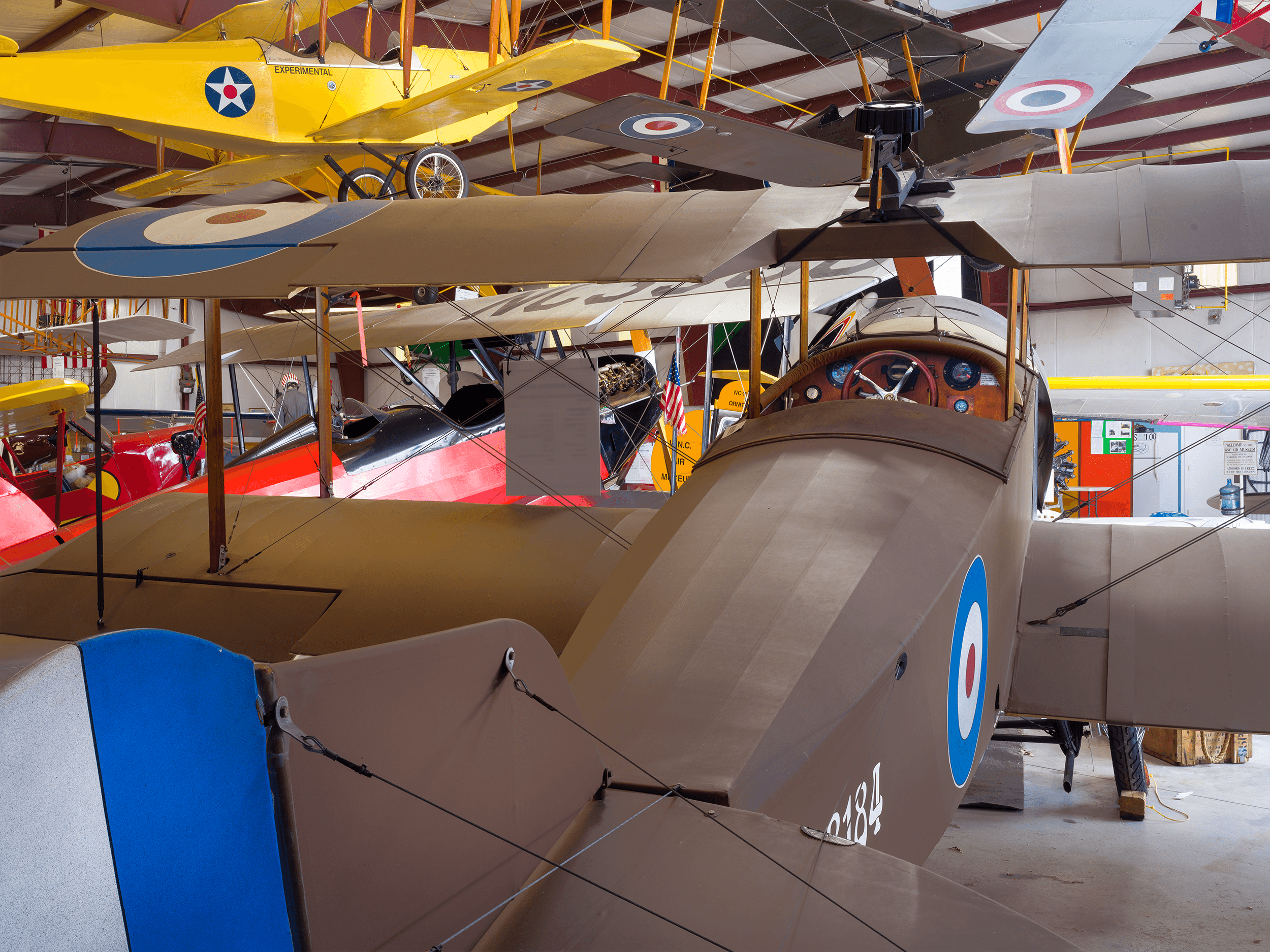 The  1915 Sopwith Baby  was used by the Royal Naval Air Service in WWI. The model on display is a full-scale replica, which was donated to the museum in 2015.