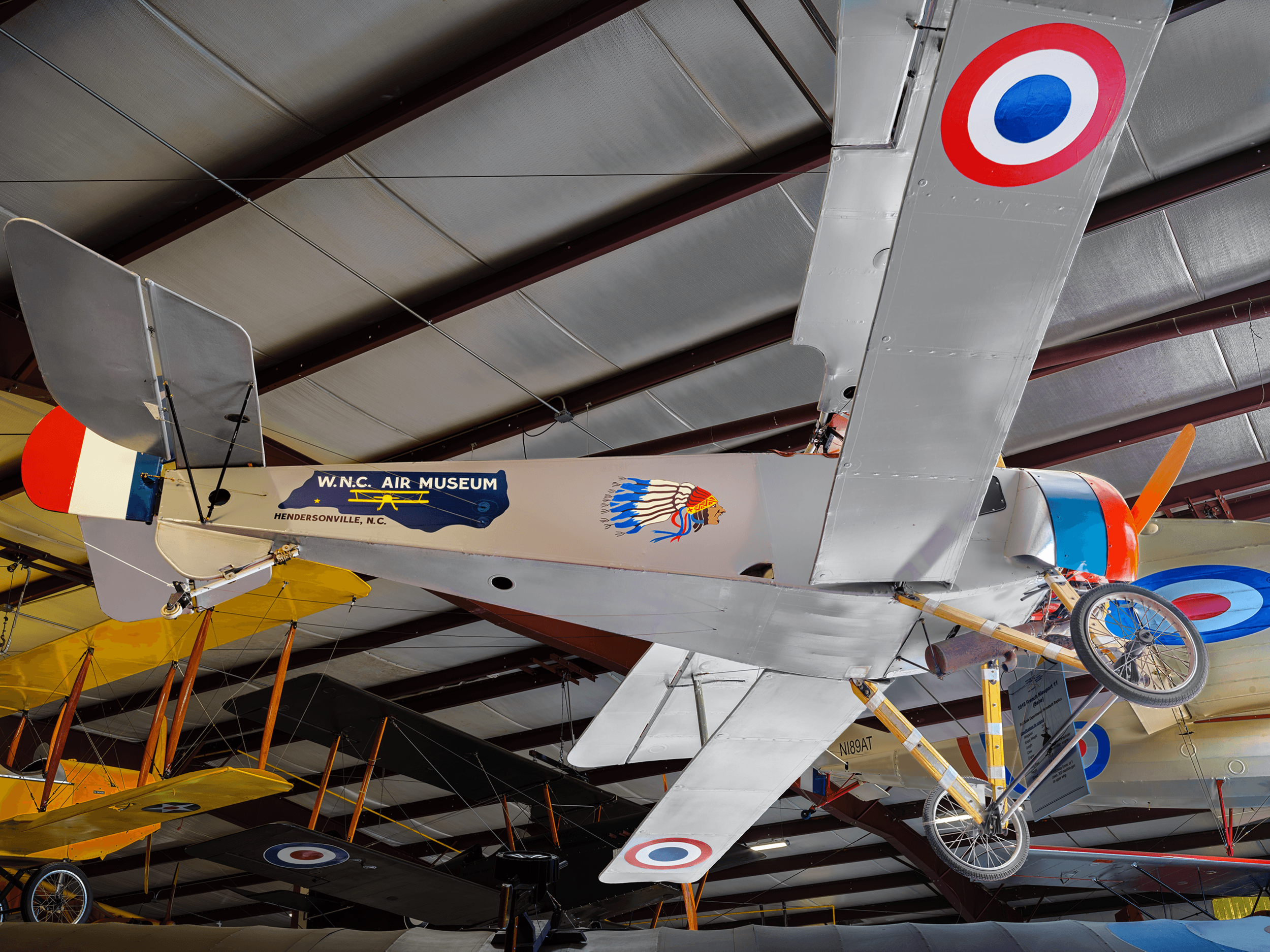 The  1915 Nieuport 11  was one of the first real allied fighters of WWI and featured an 80hp LeRhone rotary engine that spins with the propeller - state of the art in the early 1900s but very unusual today.