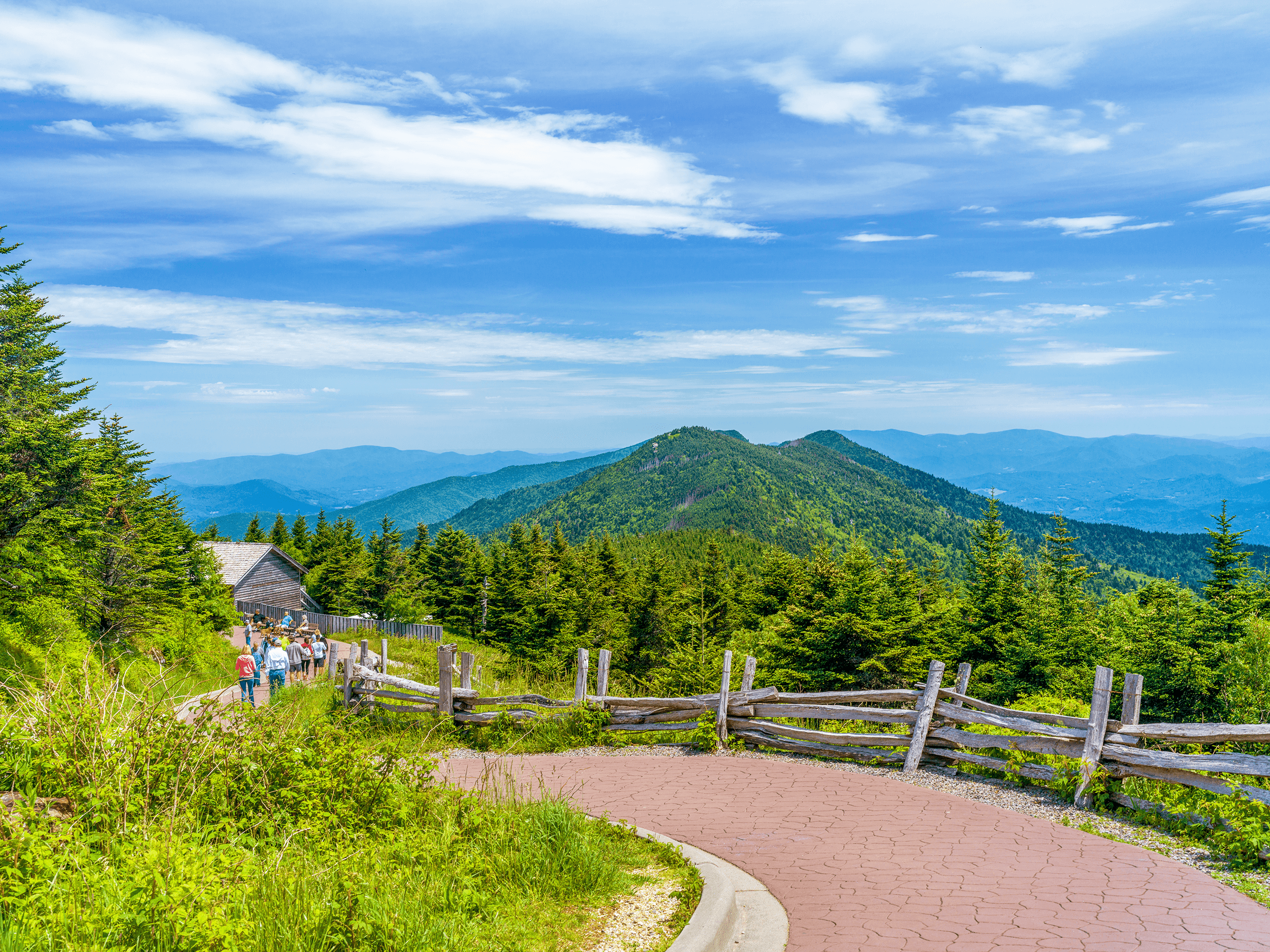 The trail from the parking lot to the observation tower at the summit is paved and easy to walk.