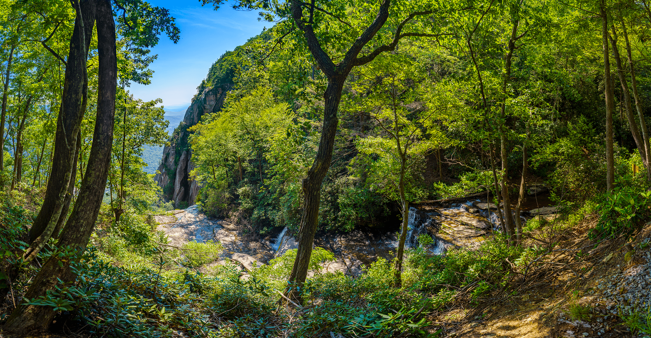 The  Skyline Trail  ends at the viewing platform (elevation 2,590 feet -789 meters). The platform offers scenic views of  Hickory Nut Gorge  and  Falls Creek , whose 404-foot plunge begins here.