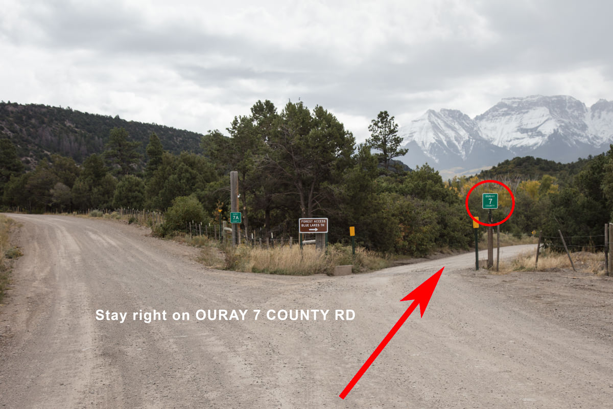 Stay right on Ouray 7 County Rd