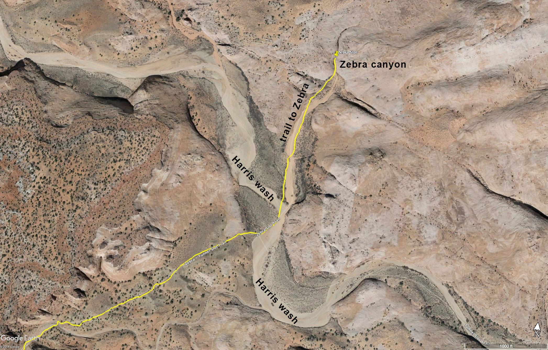 Crossing Harris Wash - heading to Zebra Canyon