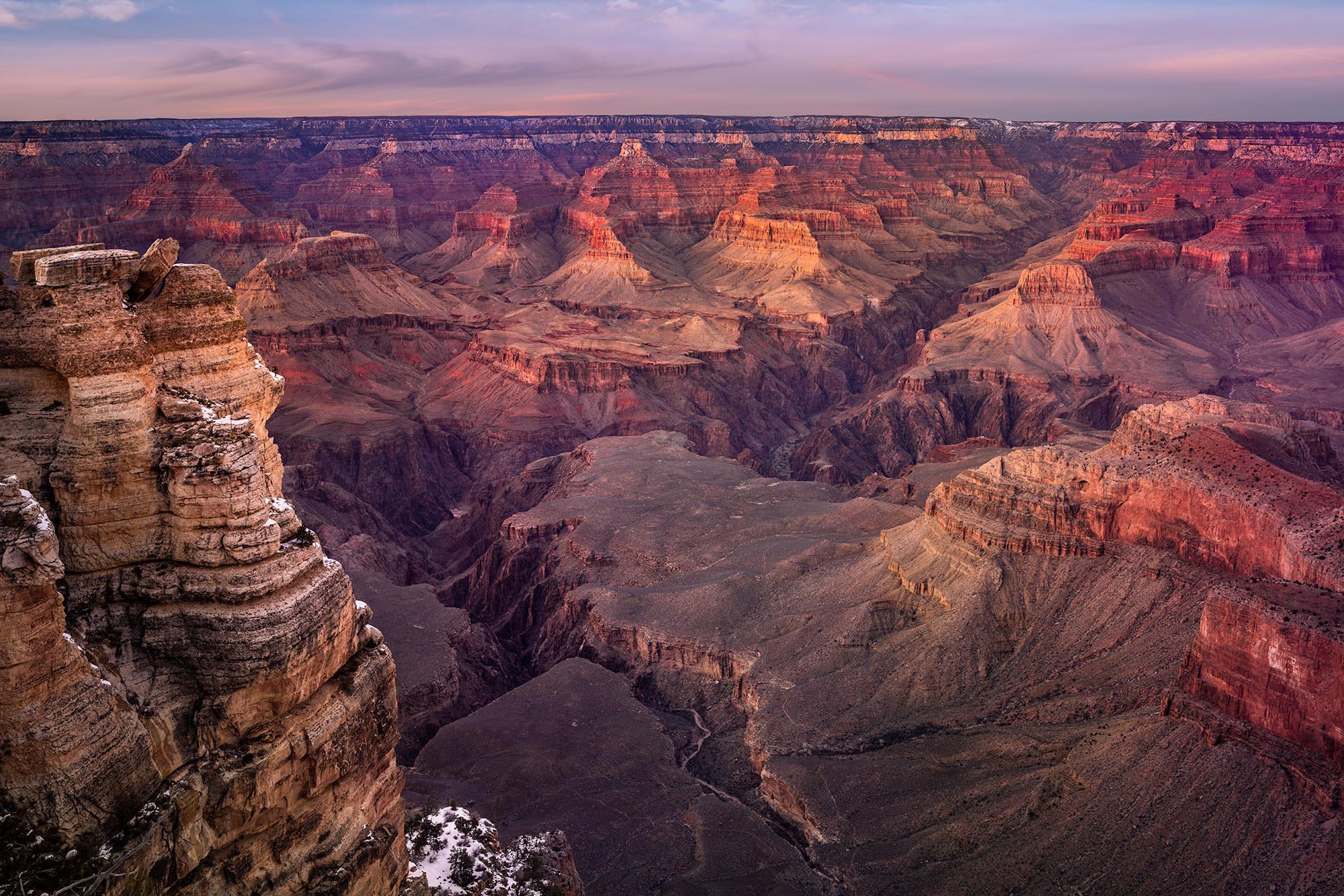 TWILIGHT NEAR MATHER POINT - South Rim - Grand Canyon, AZ