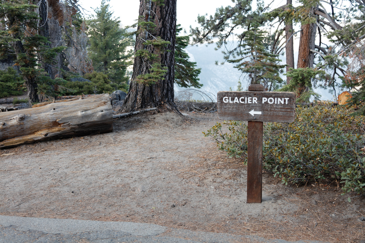 Follow trail to Glacier Point