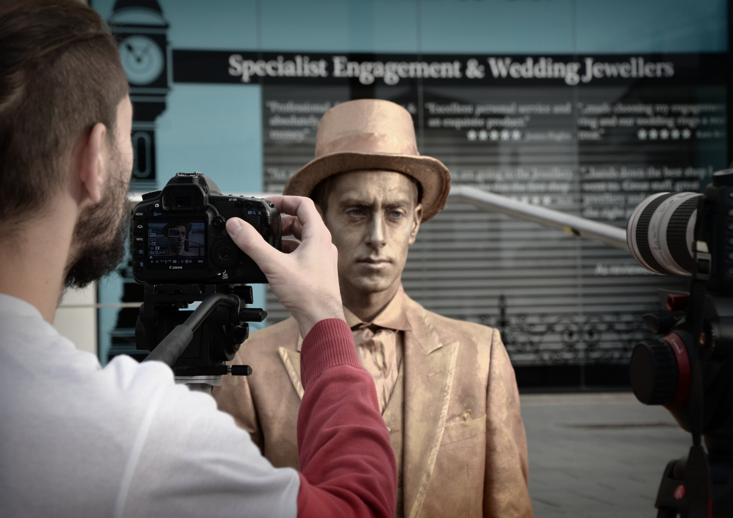 Joe Capella gets ready for a take as The Statue in Dark Matter Films's zombie comedy  Still  (2016)