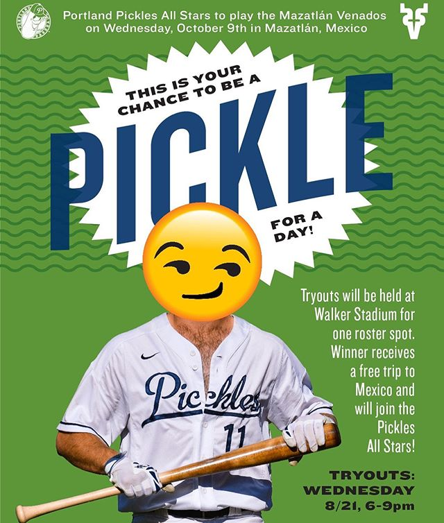 Want to be a Portland Pickle? Want a Free trip to play on the Pickles in Mexico for a game against @venadosbaseball ? Join us a week from today at Walker Stadium, 6PM, for public tryouts. Anyone welcome! More info: https://www.portlandpicklesbaseball.com/community-tryout #getpickled