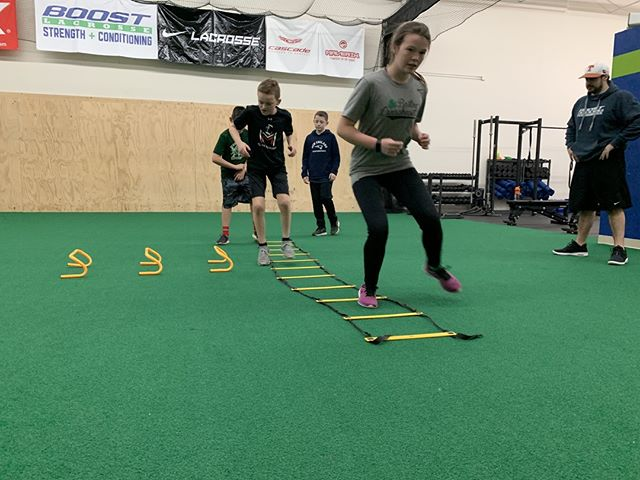 Coach Jake pushing the kids through the speed ladder! . . . . . . #boostsportsperformance #boostnation #coachmurph #sportsperformance #sportstraining #strengthtraining #conditioning #strengthandconditioning #springsports #cohasset #hingham #norwell #scituate #hull #rockland #hanover #plymouth #duxbury #kingston #weymouth #pembroke #southshorema #football #soccer #baseball #golf #rugby #basketball #hockey #workhardplayhard